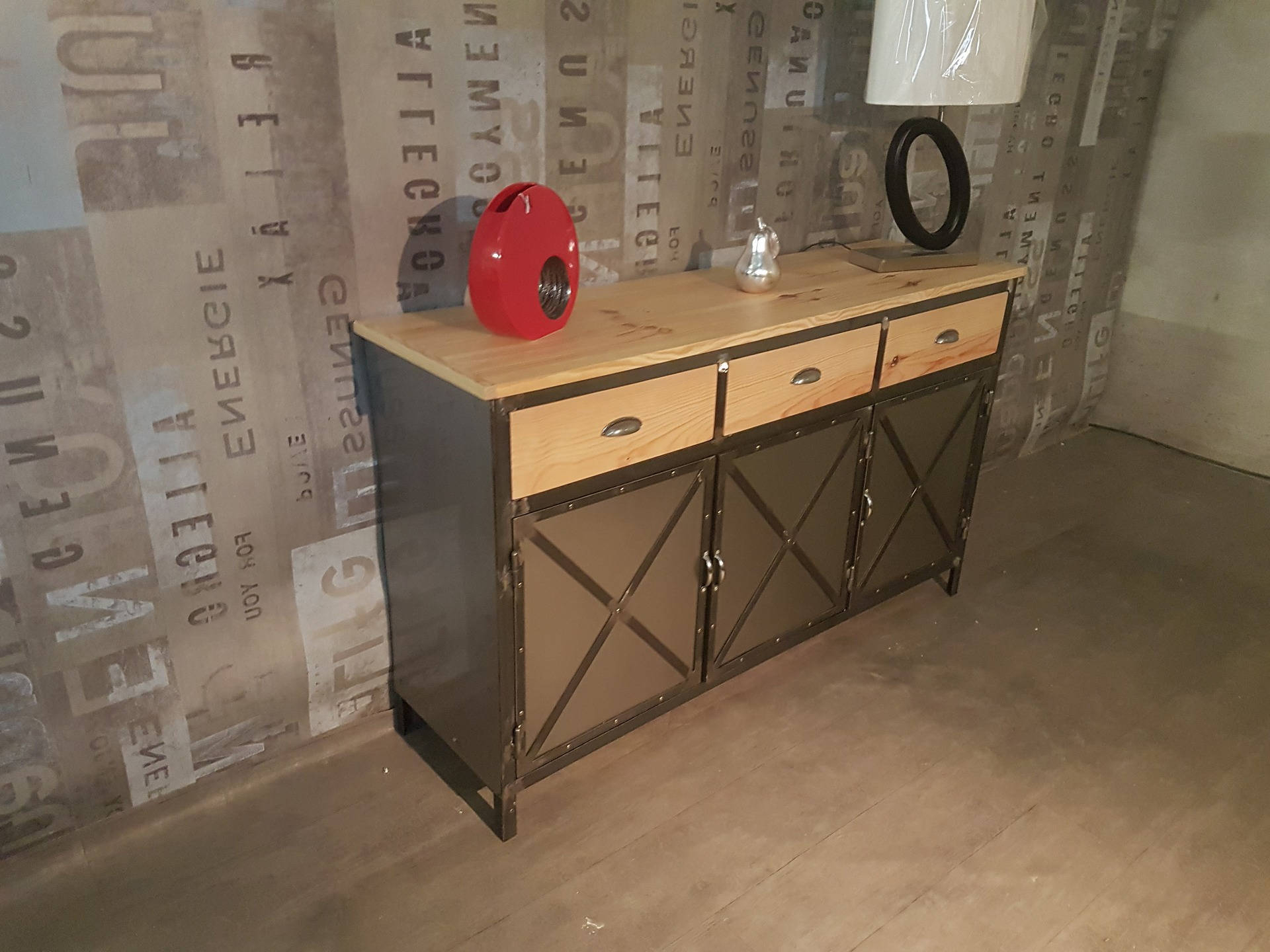 Buffet Industrial Solid Pine 3 Door Steel 3 Drawer Wood For Industrial Style 3 Drawer Buffets (View 8 of 20)