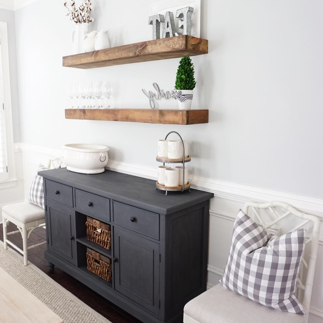 Buffet – Rustoleum Chalked In Charcoal Shelves – Miniwax In With Multi Shelf Corner Buffets (View 2 of 20)