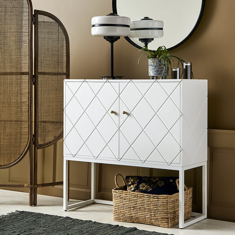 Buffet Squares Two Door Cabinet – White Throughout Mirrored Double Door Buffets (View 2 of 20)