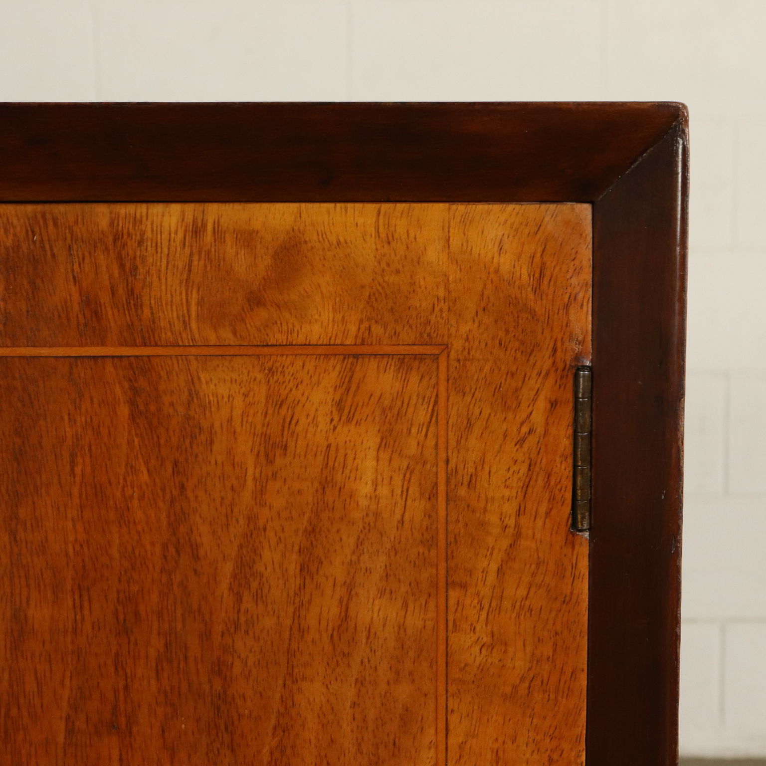 Buffet Walnut Veneer Parchment Paper Vintage Italy 1950S Intended For Vintage Walnut Sliding Door Buffets (View 4 of 20)