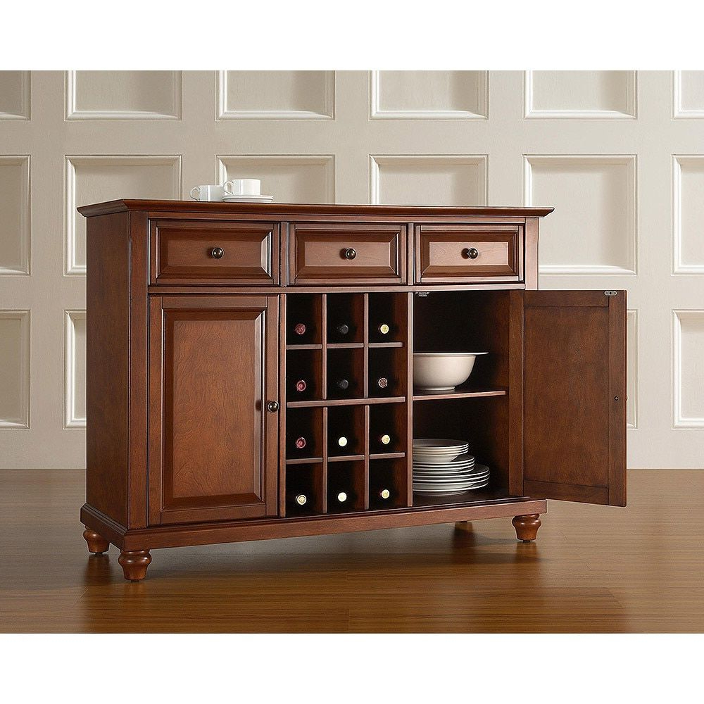 Cambridge Buffet Server / Sideboard Cabinet With Wine Within Buffets With Cherry Finish (View 6 of 20)