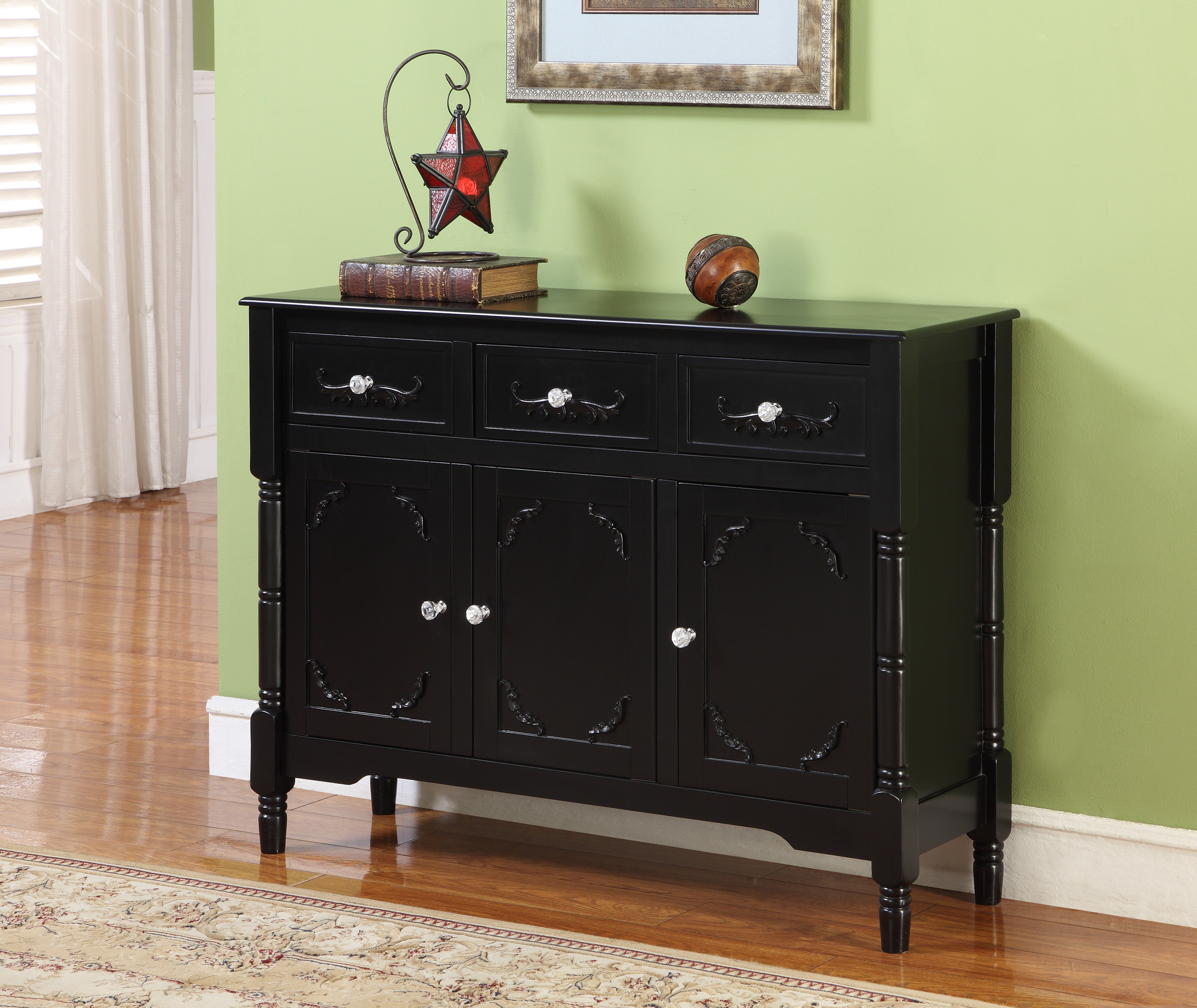 Camden Black Wood Contemporary Sideboard Buffet Display Console Table With  Storage Drawers & Doors With Regard To Contemporary Black Buffets (View 5 of 20)