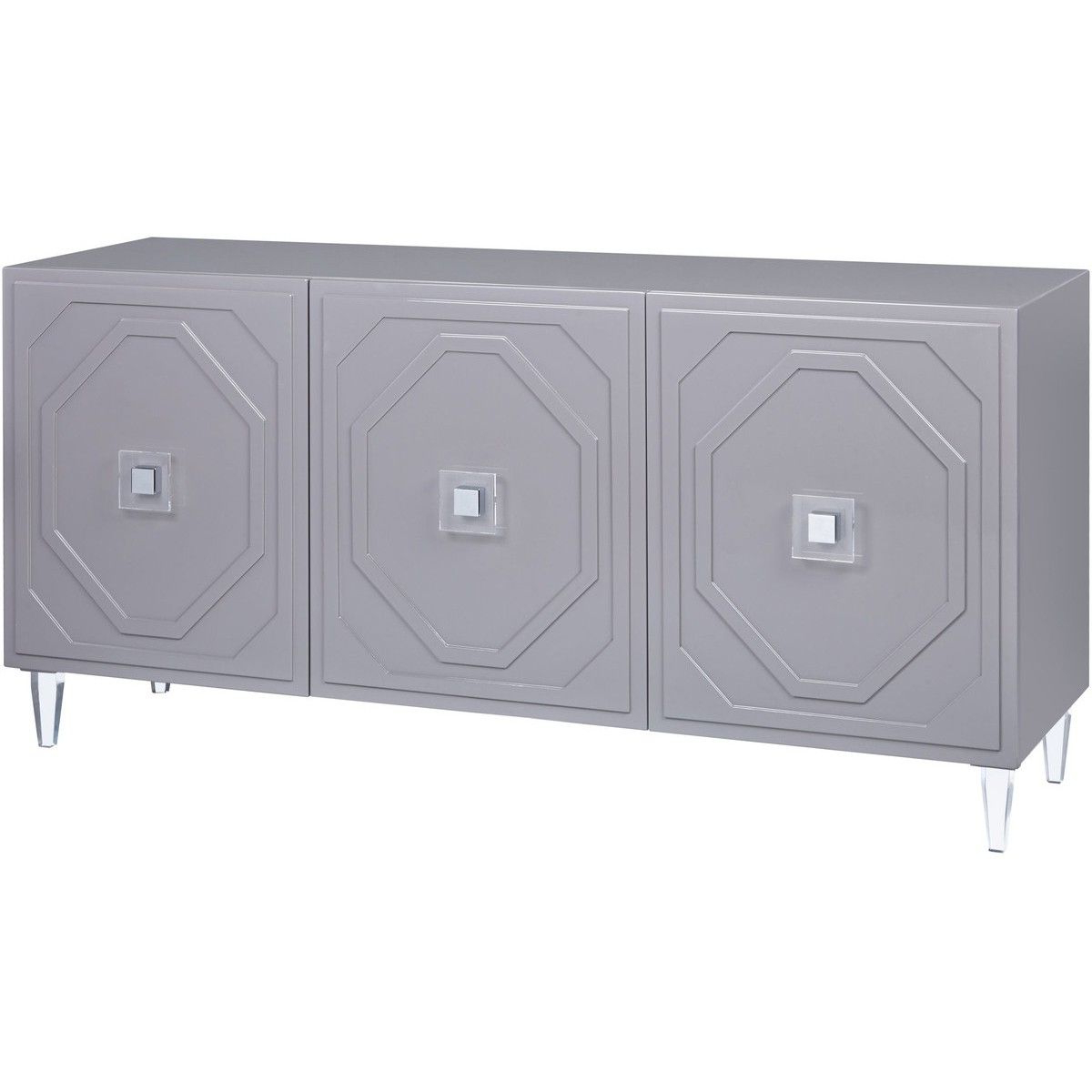 Candelabra Home Andros Lacquer Buffet – Grey | Living Room In White Geometric Buffets (View 13 of 20)