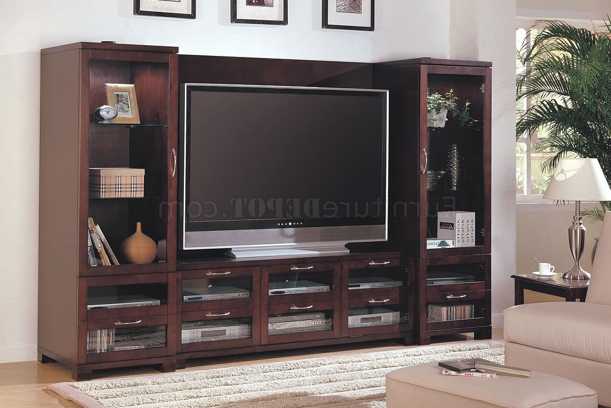 Cappuccino Finish Modern Entertainment Wall Unit W/glass Doors Within Cappuccino Finished Buffets (View 15 of 20)