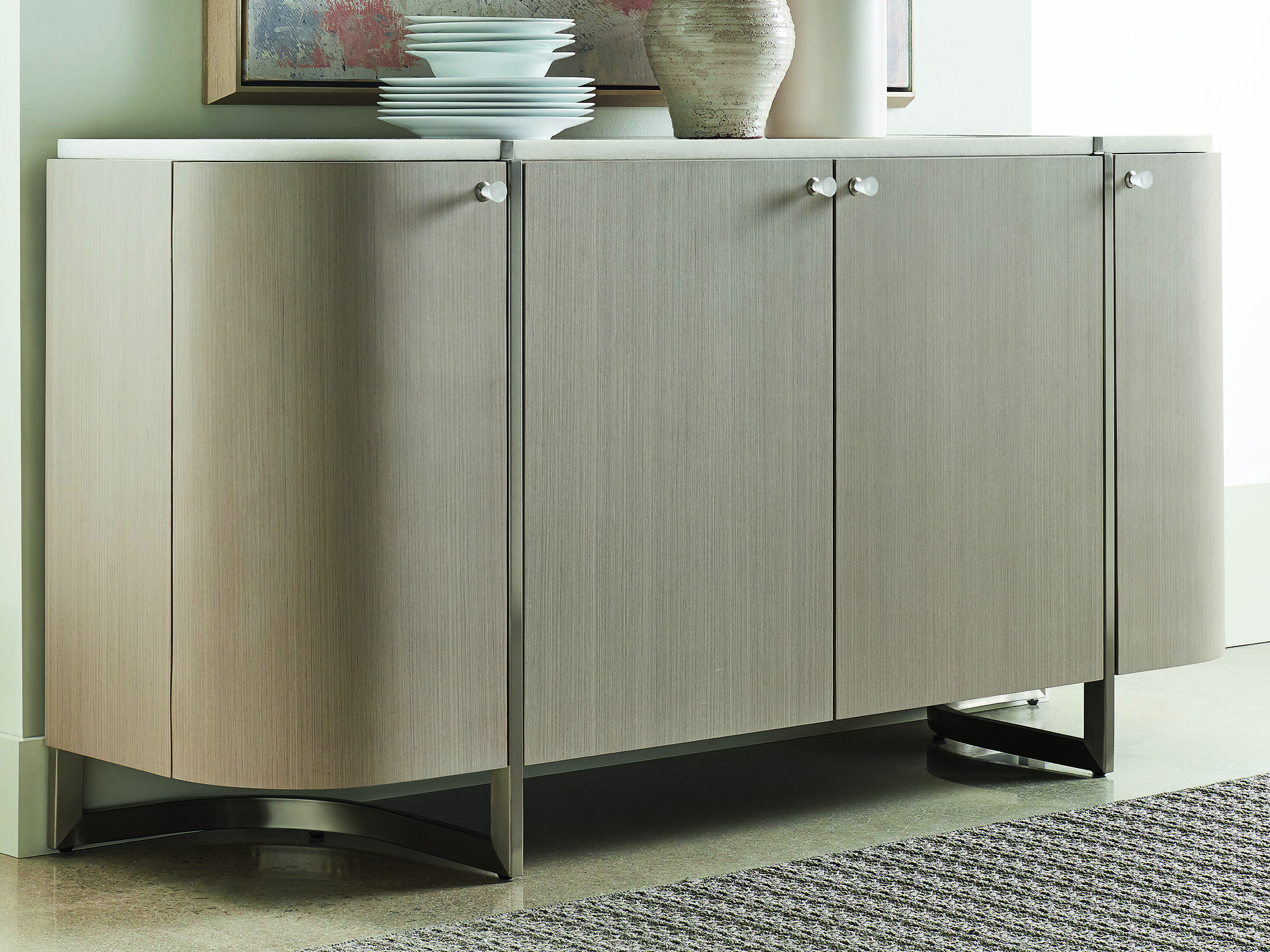 Caracole Modern Grace White Marble / Serene Dark Taupe 70''w X 19''d Rectangular Buffet Credenza Intended For 3 Drawer Titanium Buffets (View 19 of 20)