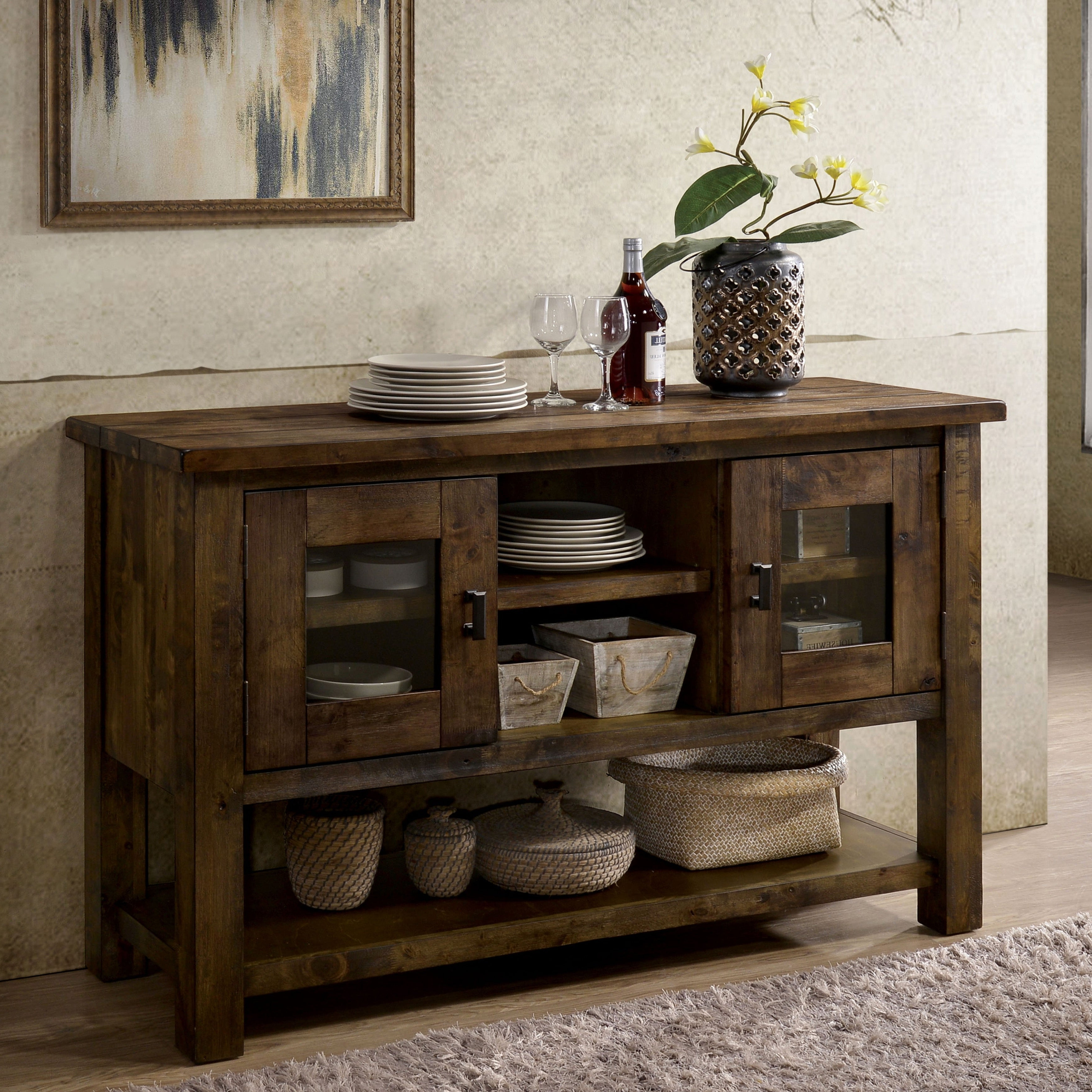 Carbon Loft Glamdring Rustic Dining Buffet In Carbon Loft Feleni Contemporary Buffets (View 8 of 20)