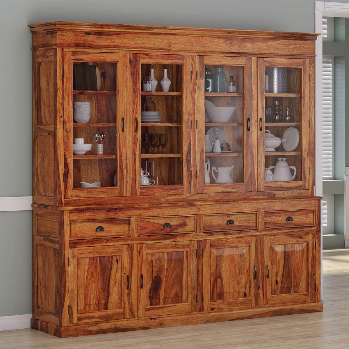 Cariboo Contemporary Rustic Solid Wood Dining Room Large Buffet Hutch Pertaining To Contemporary Espresso 2 Cabinet Dining Buffets (View 2 of 20)