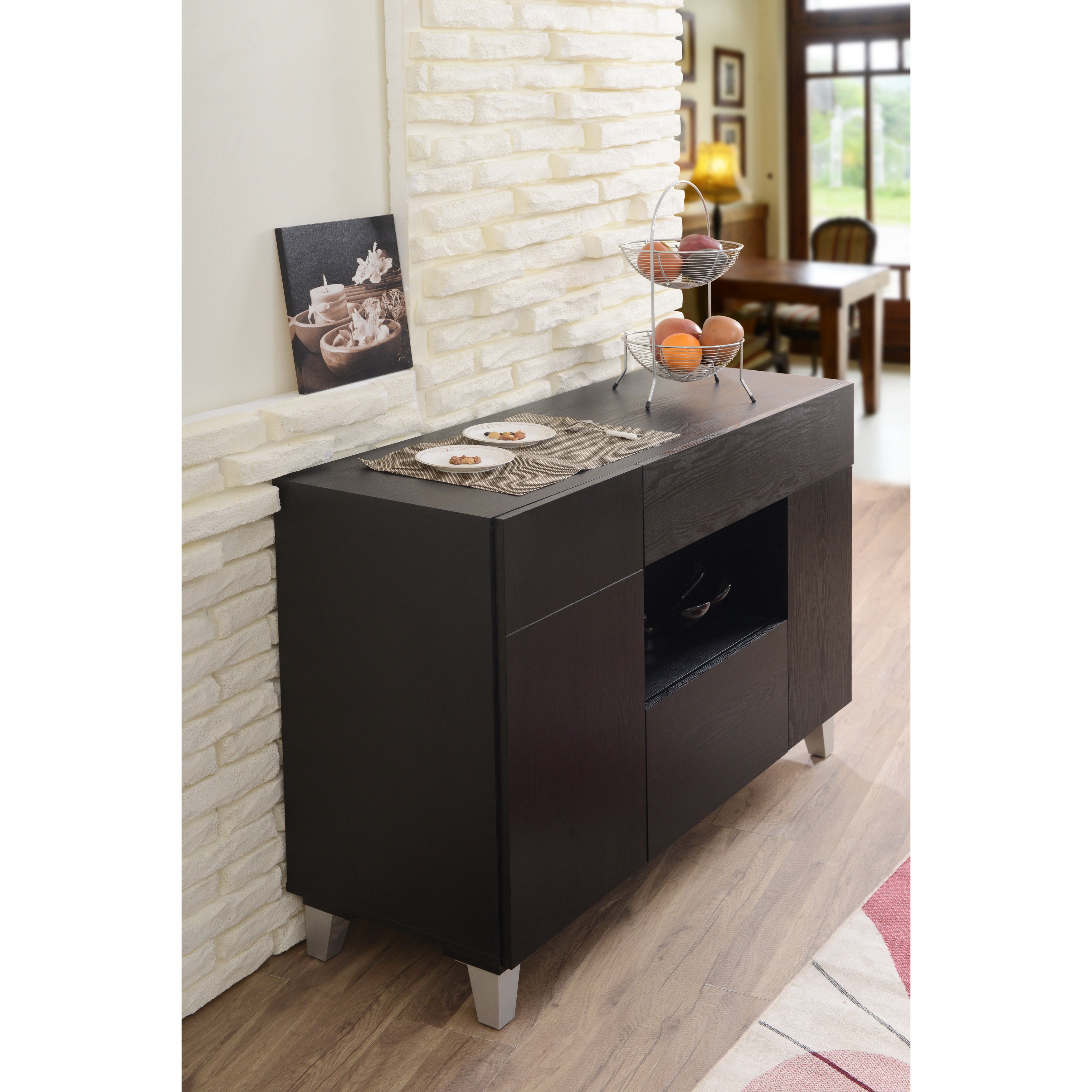 Carrera Contemporary 47 Inch Black Dining Buffet Storage Serverfoa For Carrera Contemporary Black Dining Buffets (View 3 of 20)