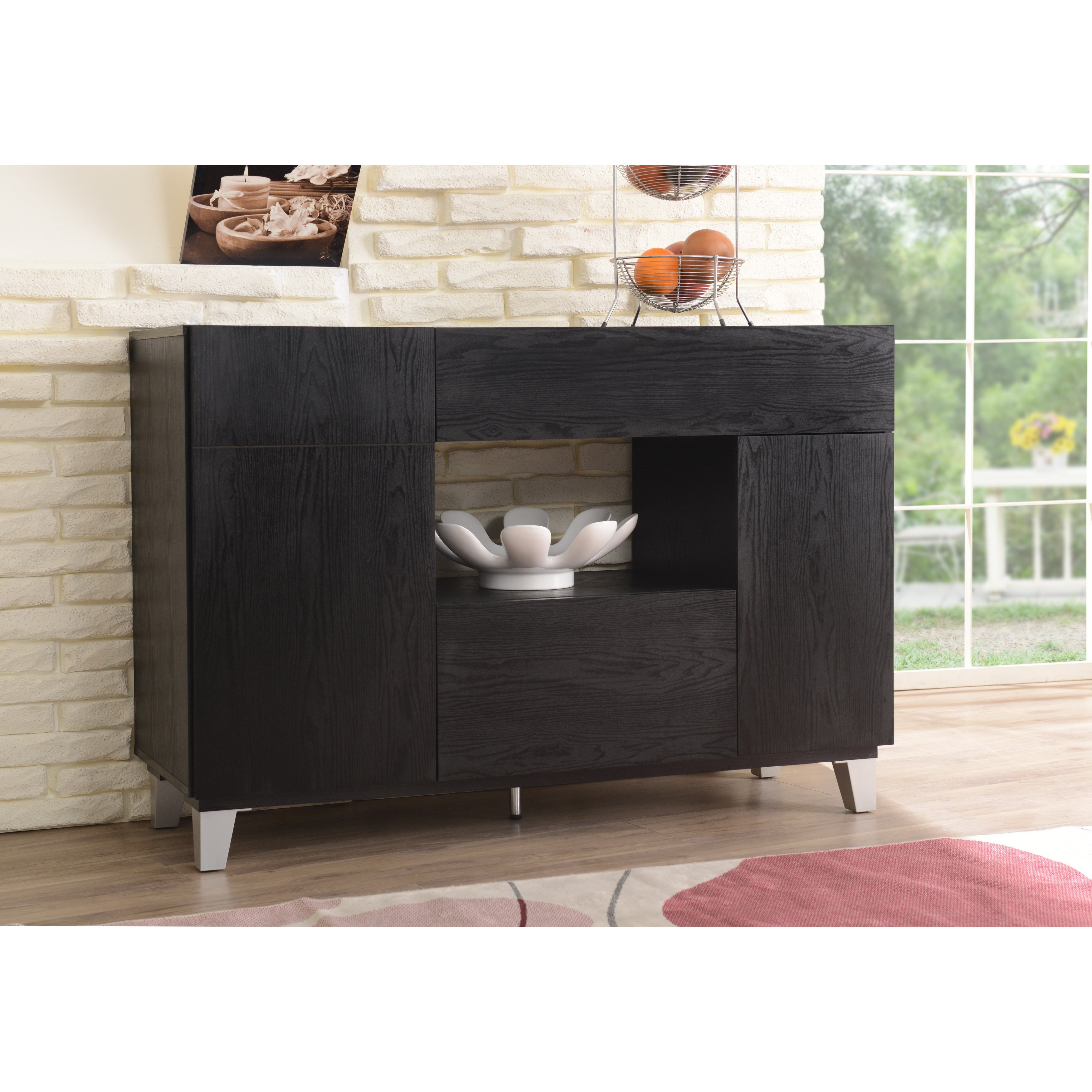 Carrera Contemporary 47 Inch Black Dining Buffet Storage Serverfoa With Carrera Contemporary Black Dining Buffets (View 6 of 20)