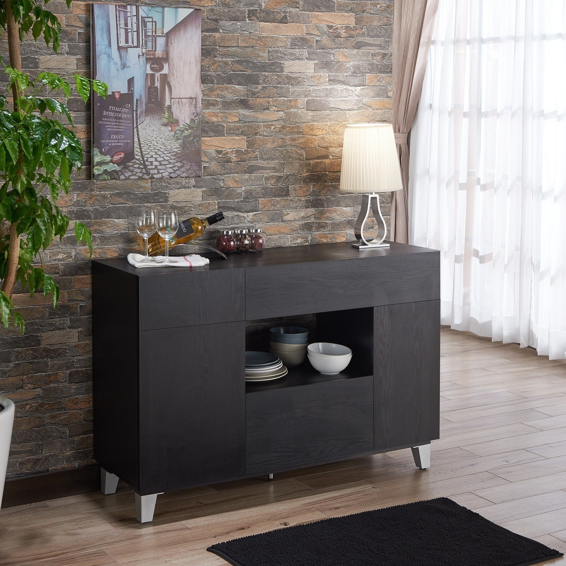 Carrera Contemporary 47 Inch Black Dining Buffet Storage Serverfoa With Regard To Contemporary Black Dining Buffets (View 2 of 20)