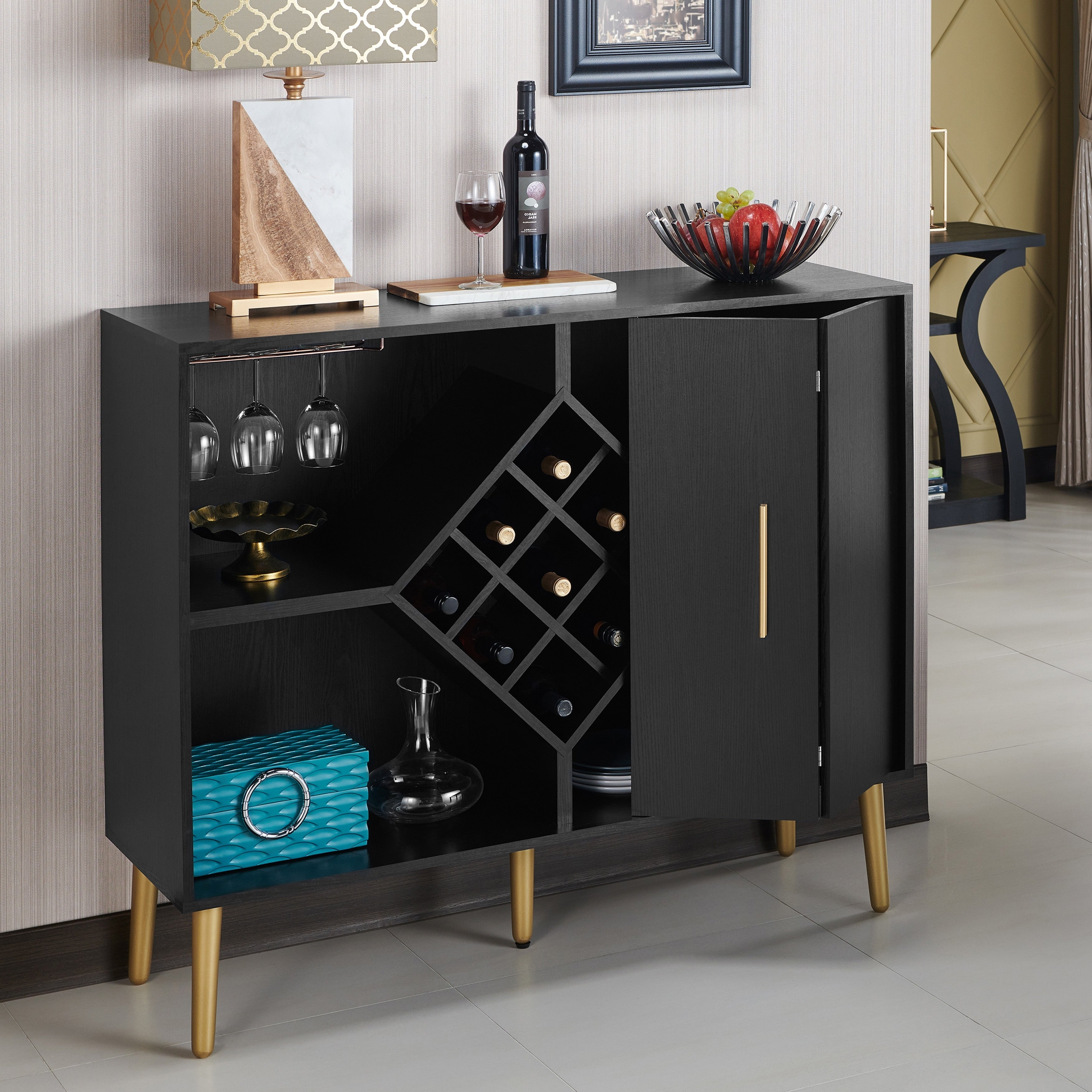 Carson Carrington Lesund Modern Black Storage Buffet Regarding Modern Black Storage Buffets (View 9 of 20)