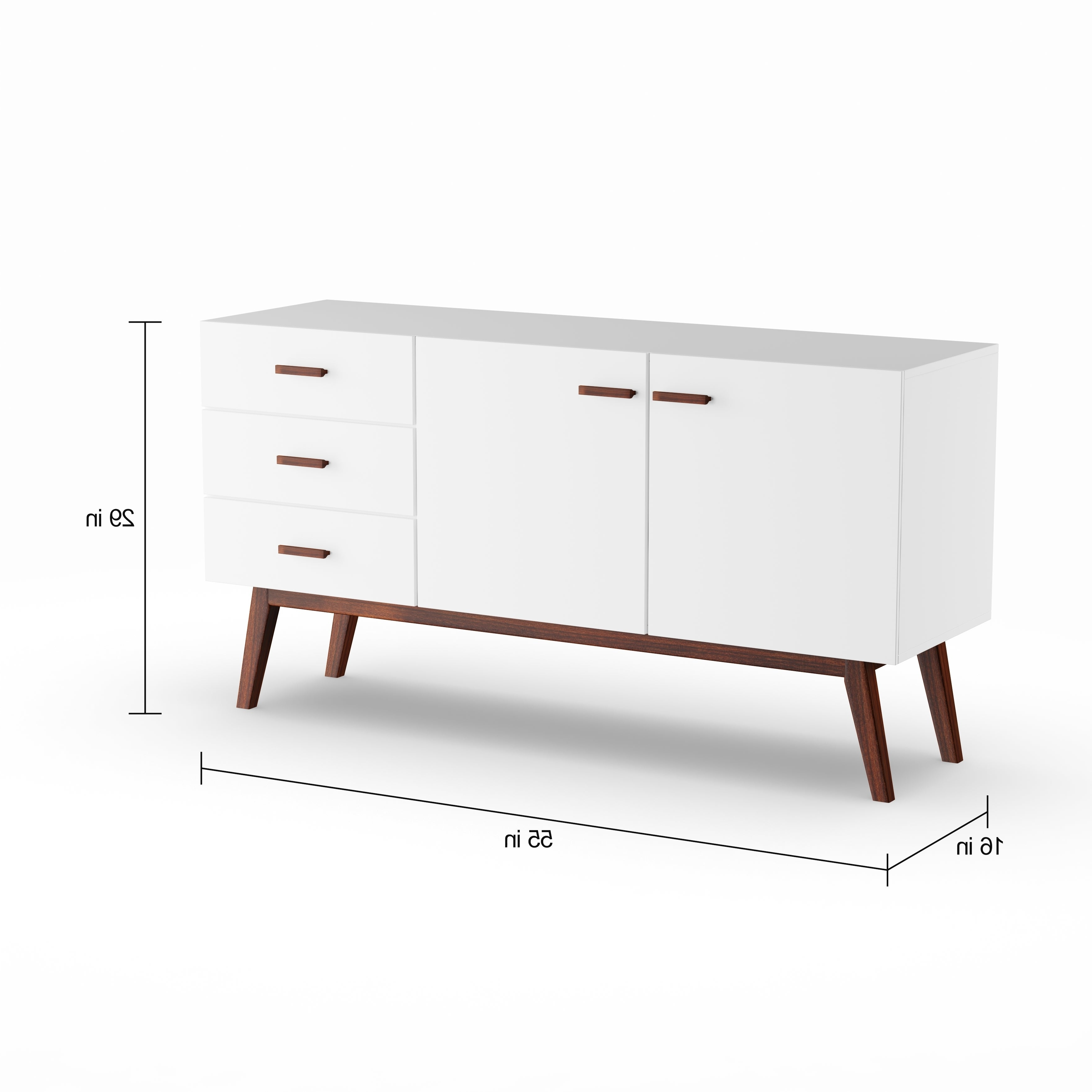 Carson Carrington Lund Mid Century Modern Buffet Throughout Mid Century Modern Glossy White Buffets (View 3 of 20)