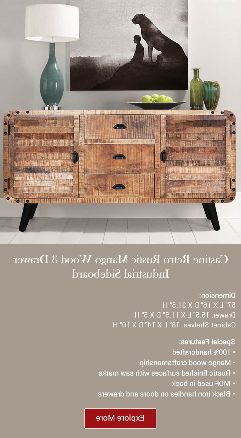 Castine Retro Rustic Mango Wood 3 Drawer Industrial Pertaining To Industrial Style 3 Drawer Buffets (View 5 of 20)