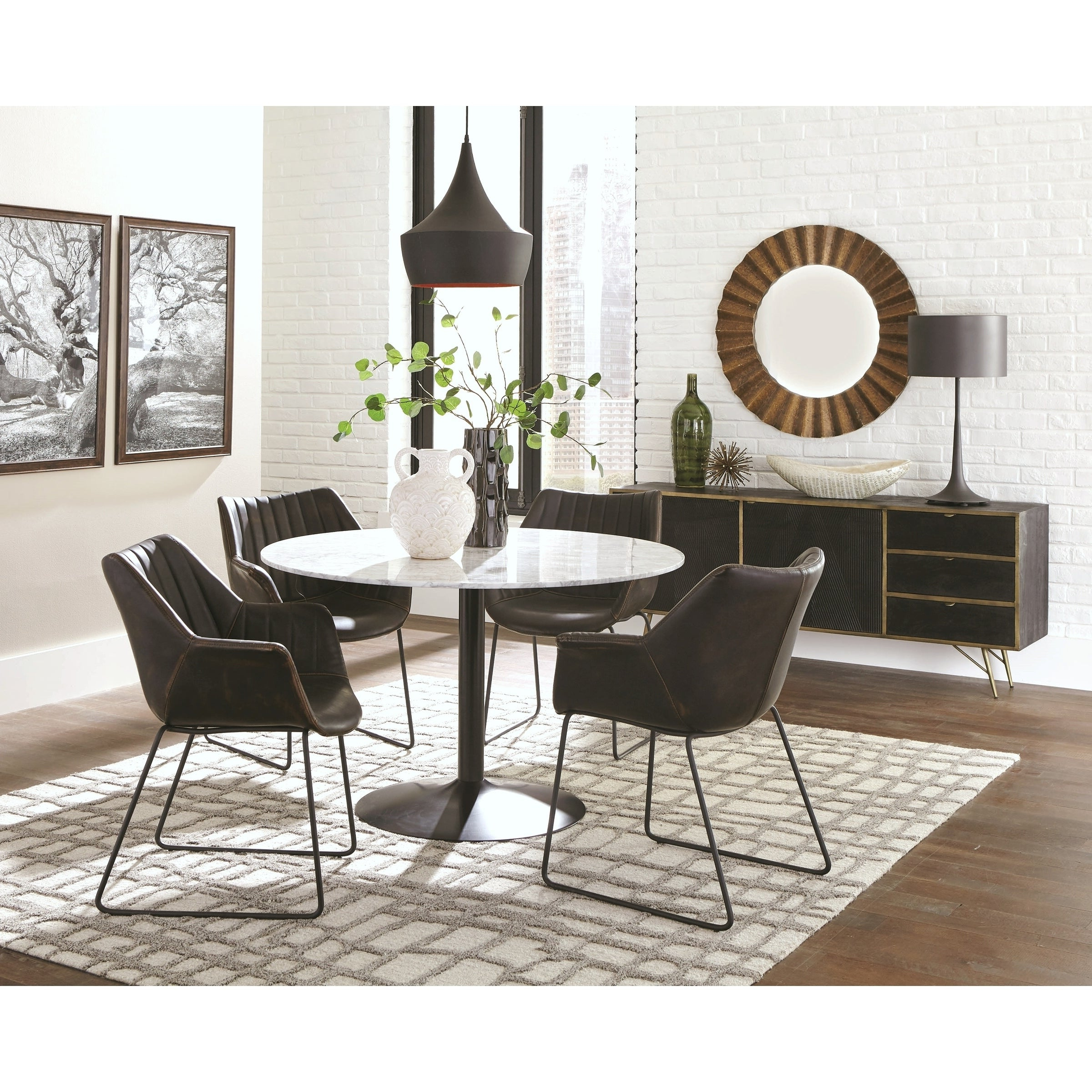 Casual Italian Carrera Marble Top Dining Set With Buffet Storage Server Throughout Carrera Contemporary Black Dining Buffets (View 7 of 20)