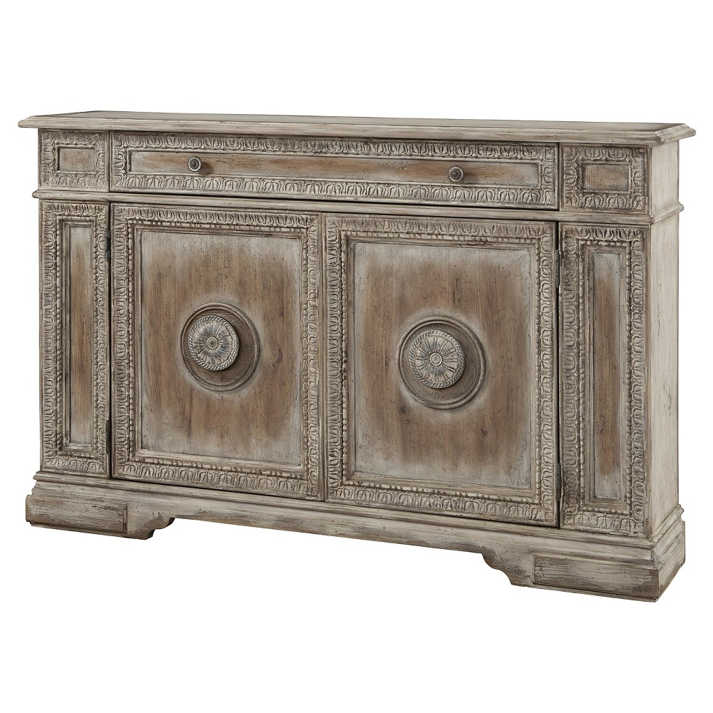 Cate Weathered Pecan Carved Door Credenza – Brown – Pulaski With Floral Beauty Credenzas (View 4 of 20)