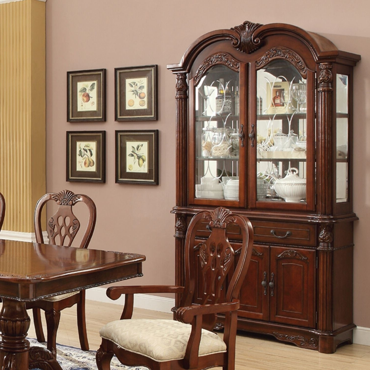 Cavalier Cherry Finish Wooden Buffet And Hutch Throughout Buffets With Cherry Finish (View 9 of 20)