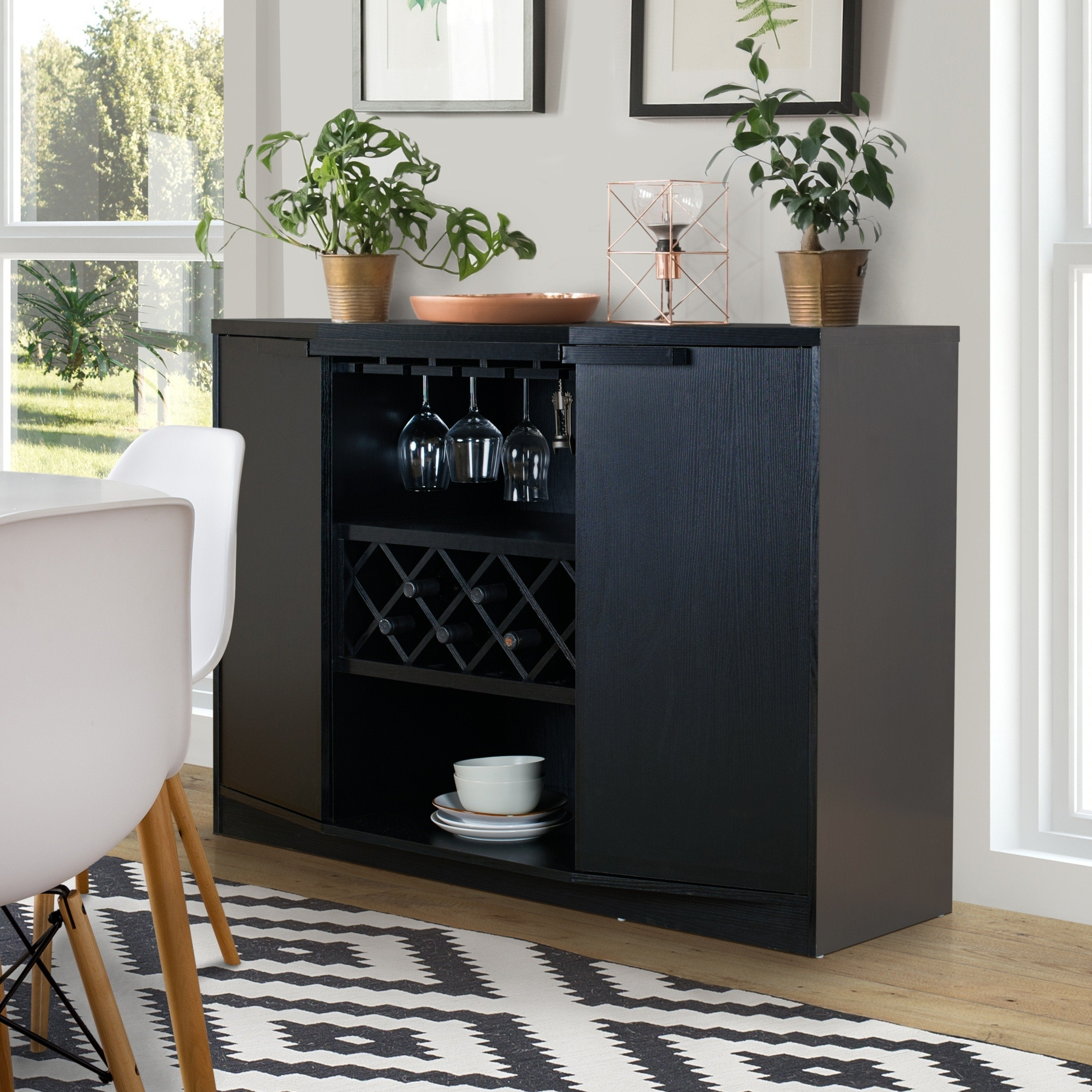 Chapline Contemporary Wine Bar Buffetfoa In Contemporary Three Tier Glass Buffets With Black Metal Frame (View 1 of 20)