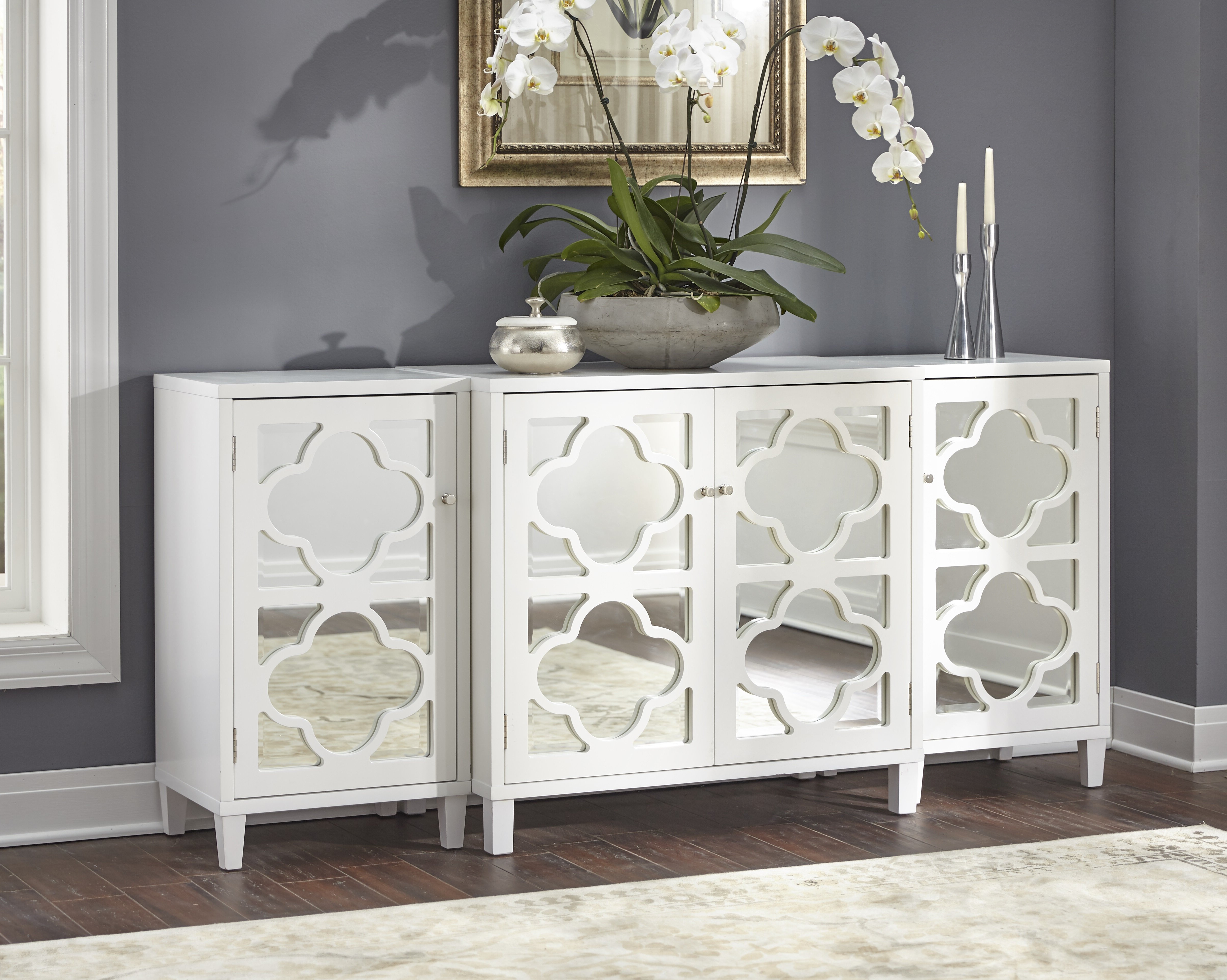 Charlton Home Gordy Mirrored 3 Piece Sideboard Set & Reviews Within 3 Piece Mirrored Buffets (View 3 of 20)