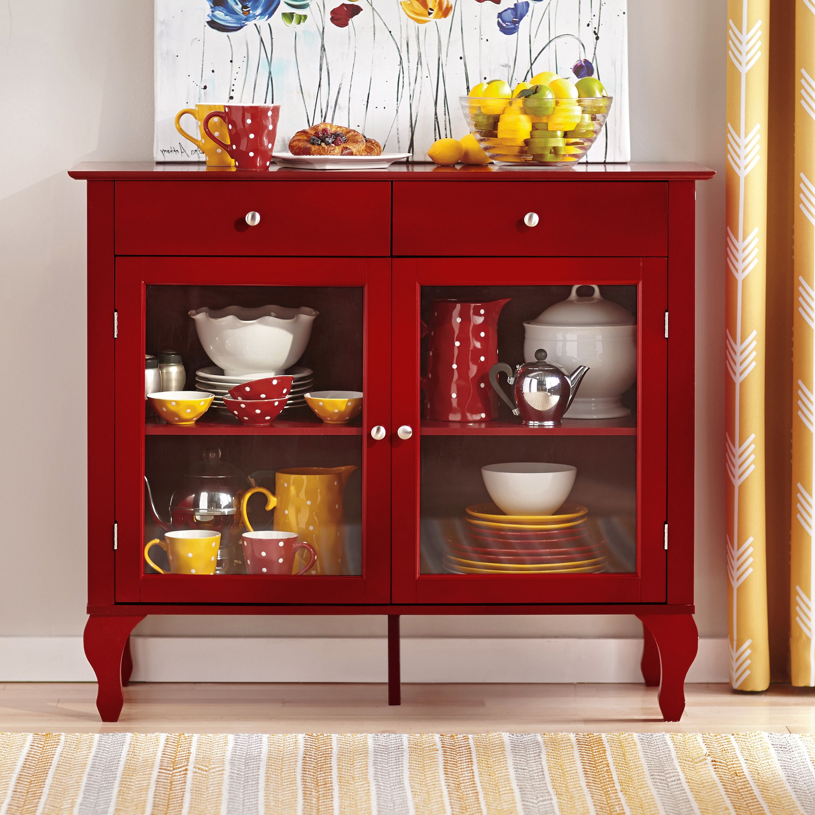 Charlton Home® Wade Buffet In Red   China Cabinet Small Within Modern Red Buffets (View 6 of 20)