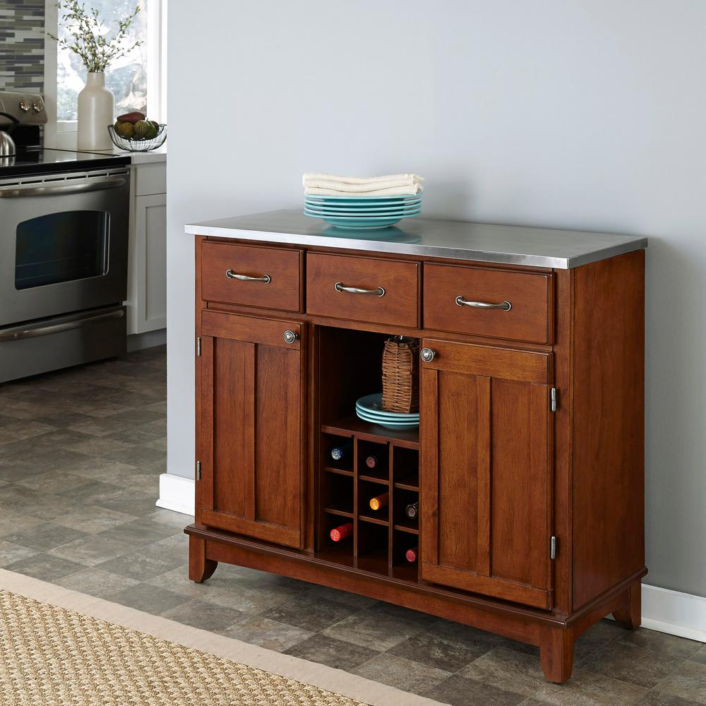 Cherry And Stainless Steel Buffet With Wine Storage Regarding Black Hutch Buffets With Stainless Top (View 12 of 20)