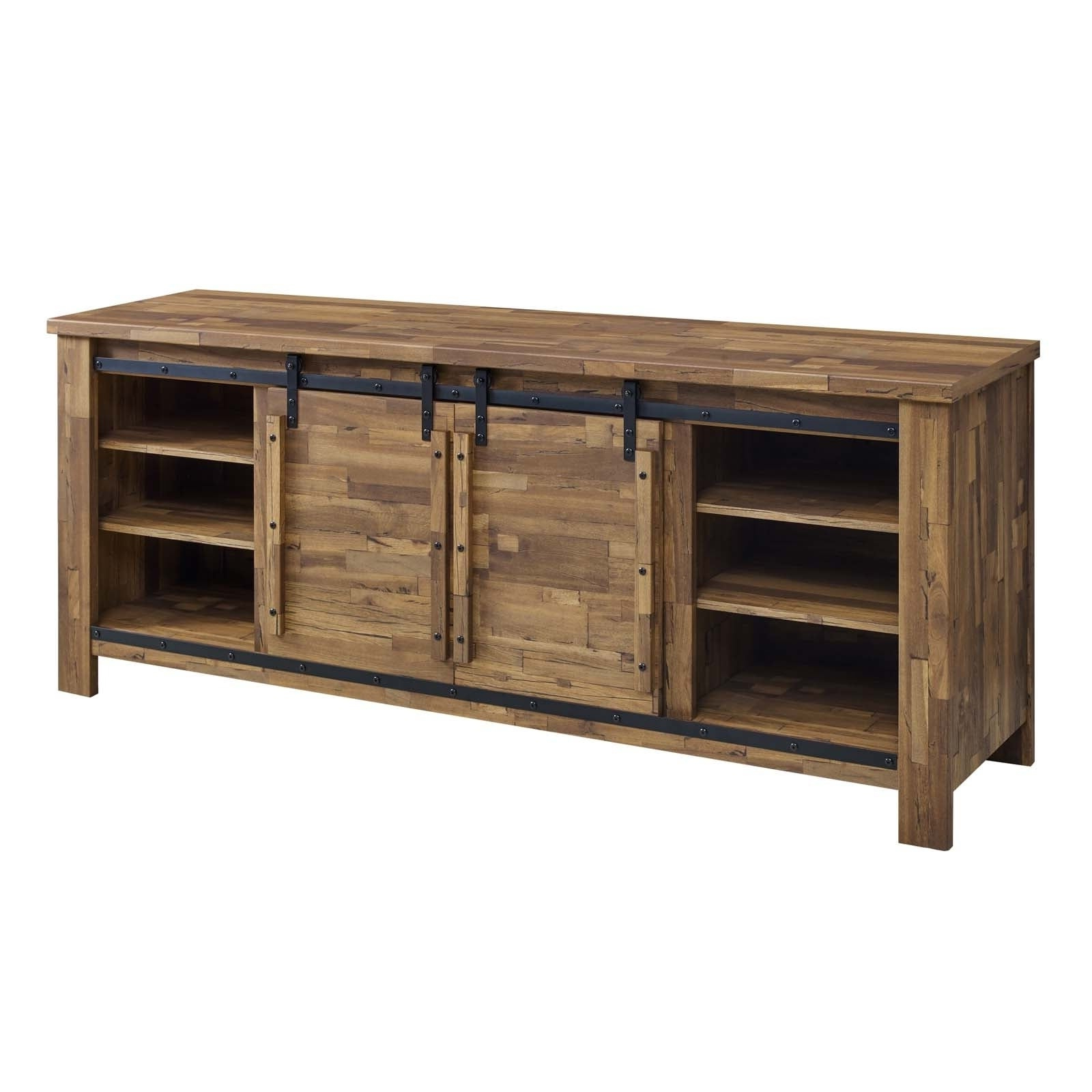 """Cheshire 70"""" Rustic Sliding Door Buffet Table Sideboard Within Vintage Walnut Sliding Door Buffets (View 5 of 20)"""