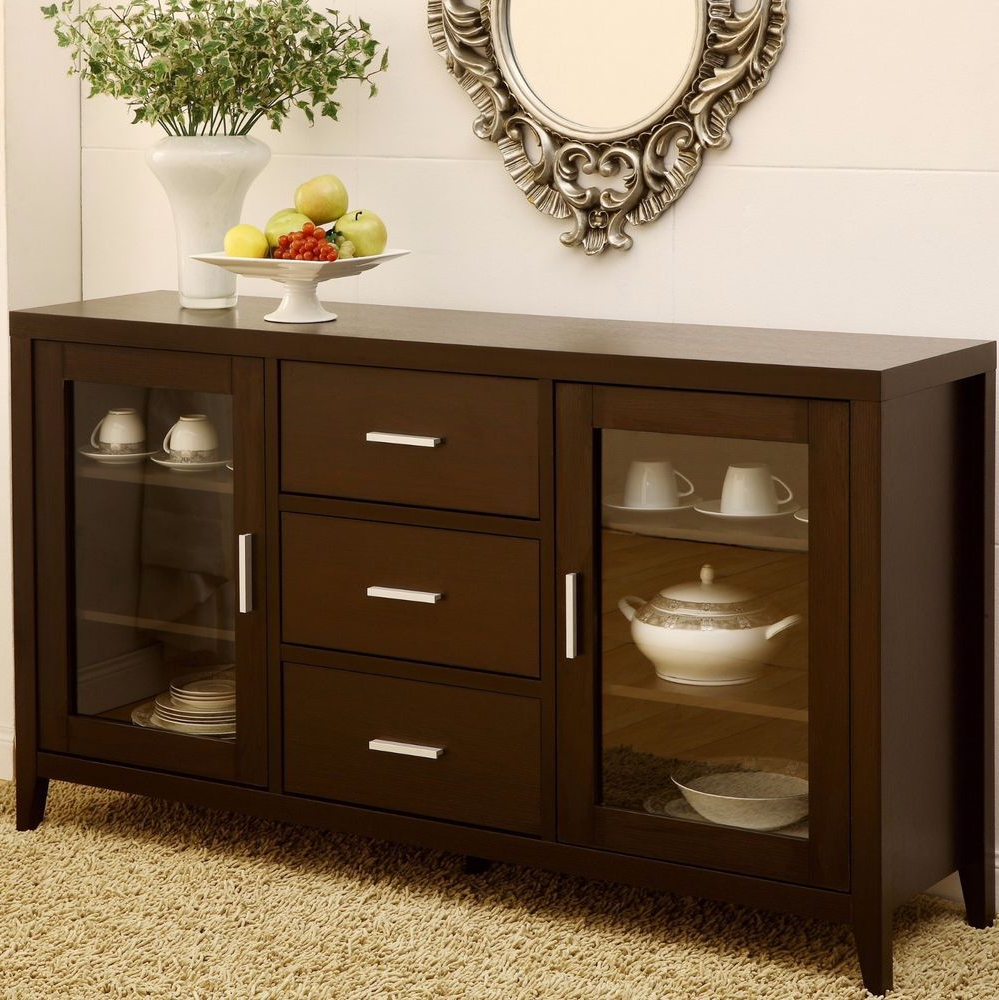China Buffet Cabinet Sideboard Hutch Storage Dining Pertaining To Contemporary Espresso Dining Buffets (View 4 of 20)