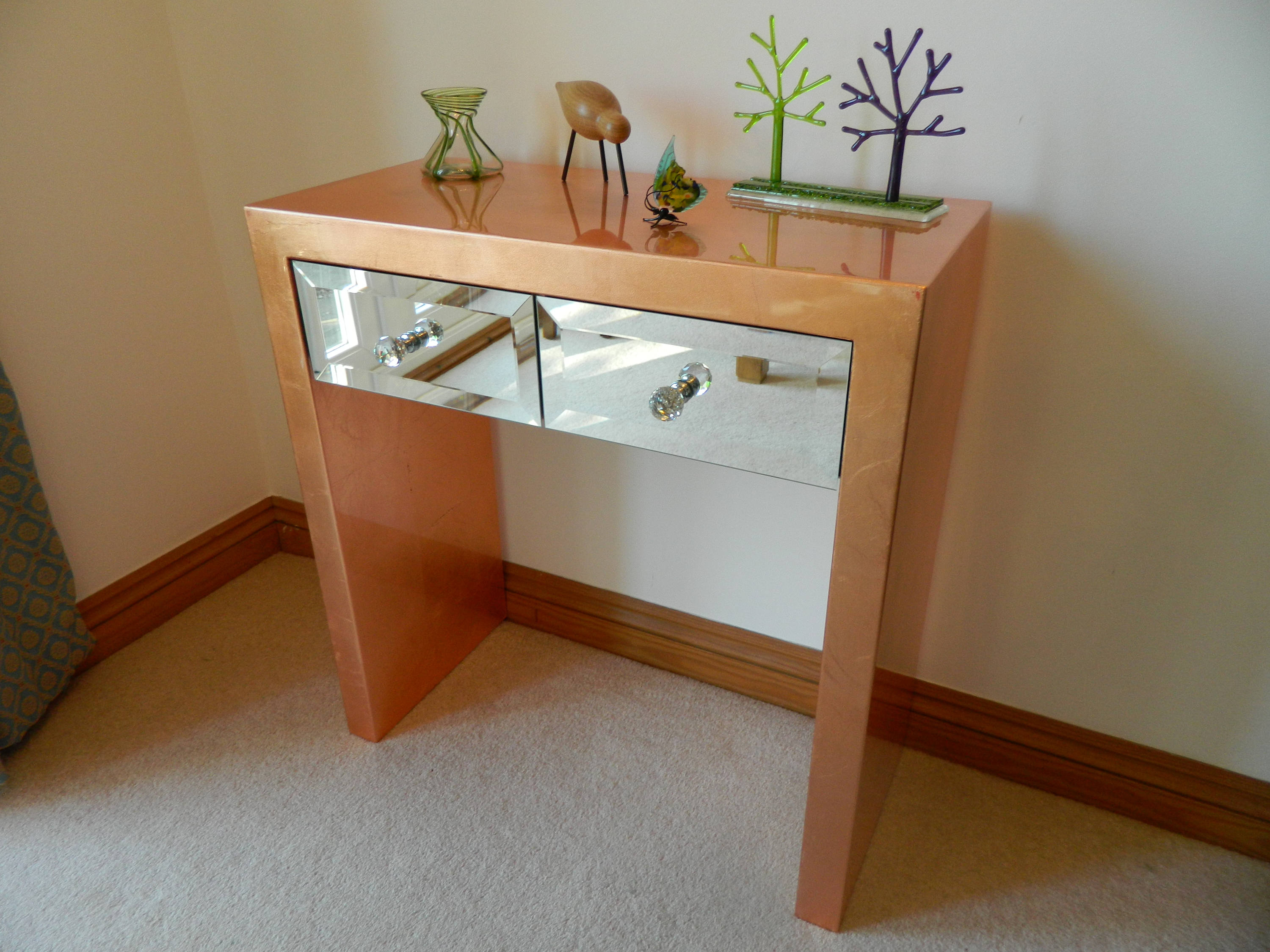 Console Table Copper Leaf Mirror Gloss With Copper Leaf Wood Credenzas (View 4 of 20)