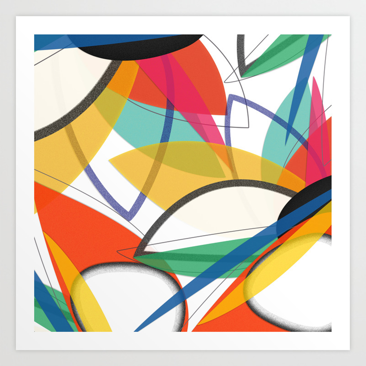 Contemporary Composition Of Multicolored Abstract Flowers, Superposition Of  Geometric Shapes Art Print Throughout Multi Colored Geometric Shapes Credenzas (View 2 of 20)