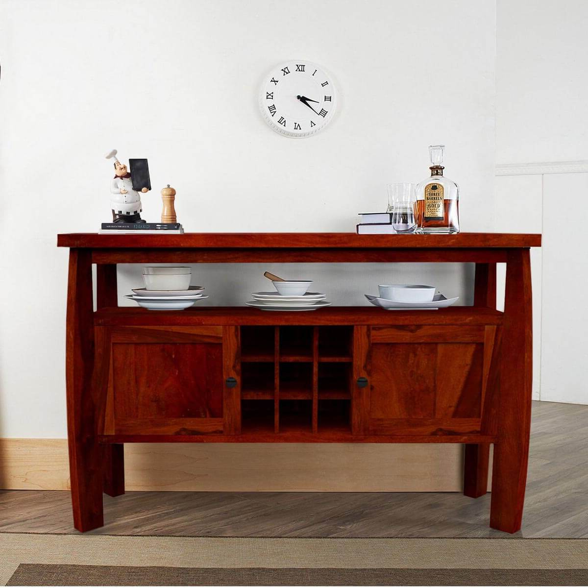 Contemporary Solid Wood Standing Wine Bar Rustic Buffet Table In Contemporary Wine Bar Buffets (View 11 of 20)