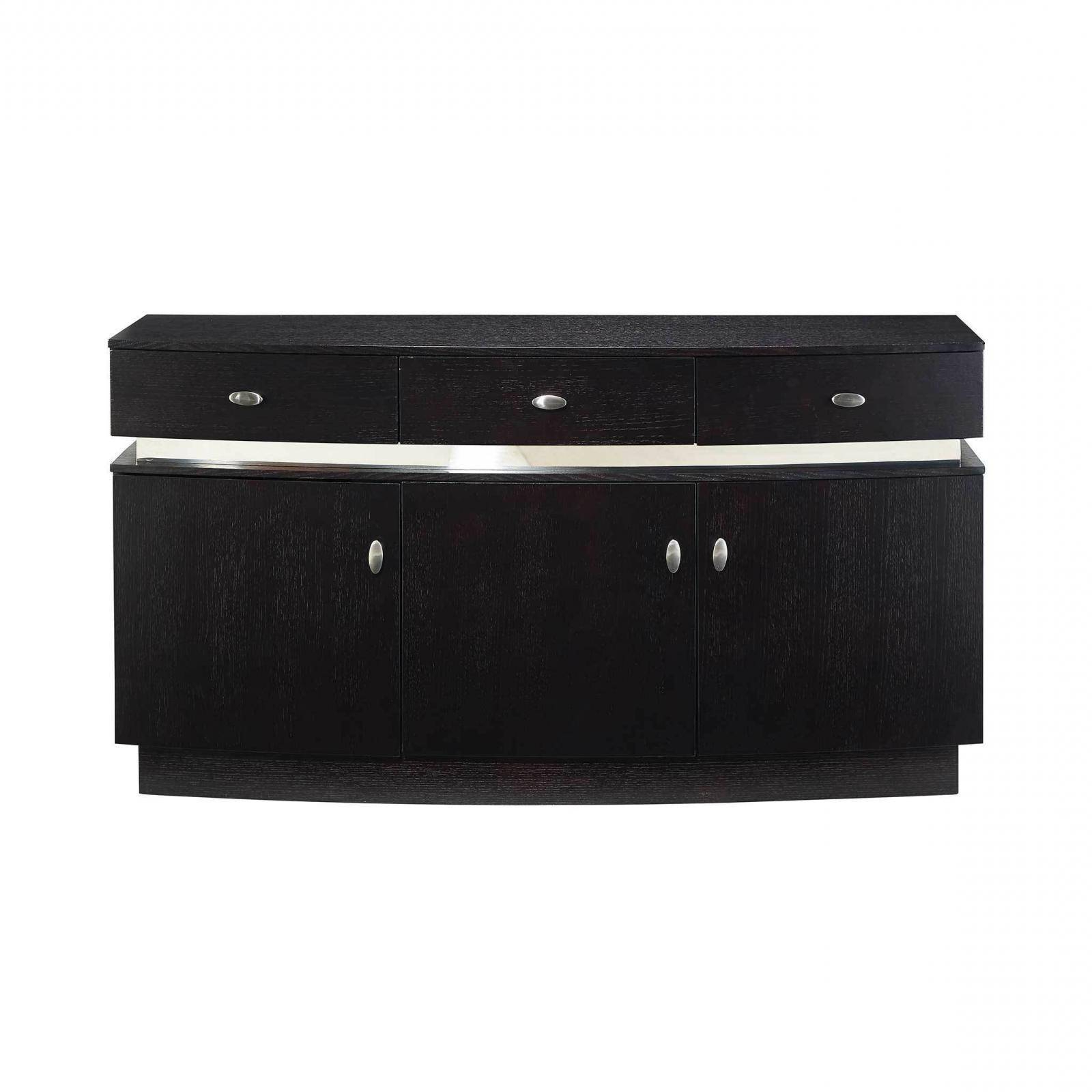 Contemporary Wenge & Beige Finish Dining Set 8Pcs W/buffet Throughout Contemporary Black Dining Buffets (View 6 of 20)