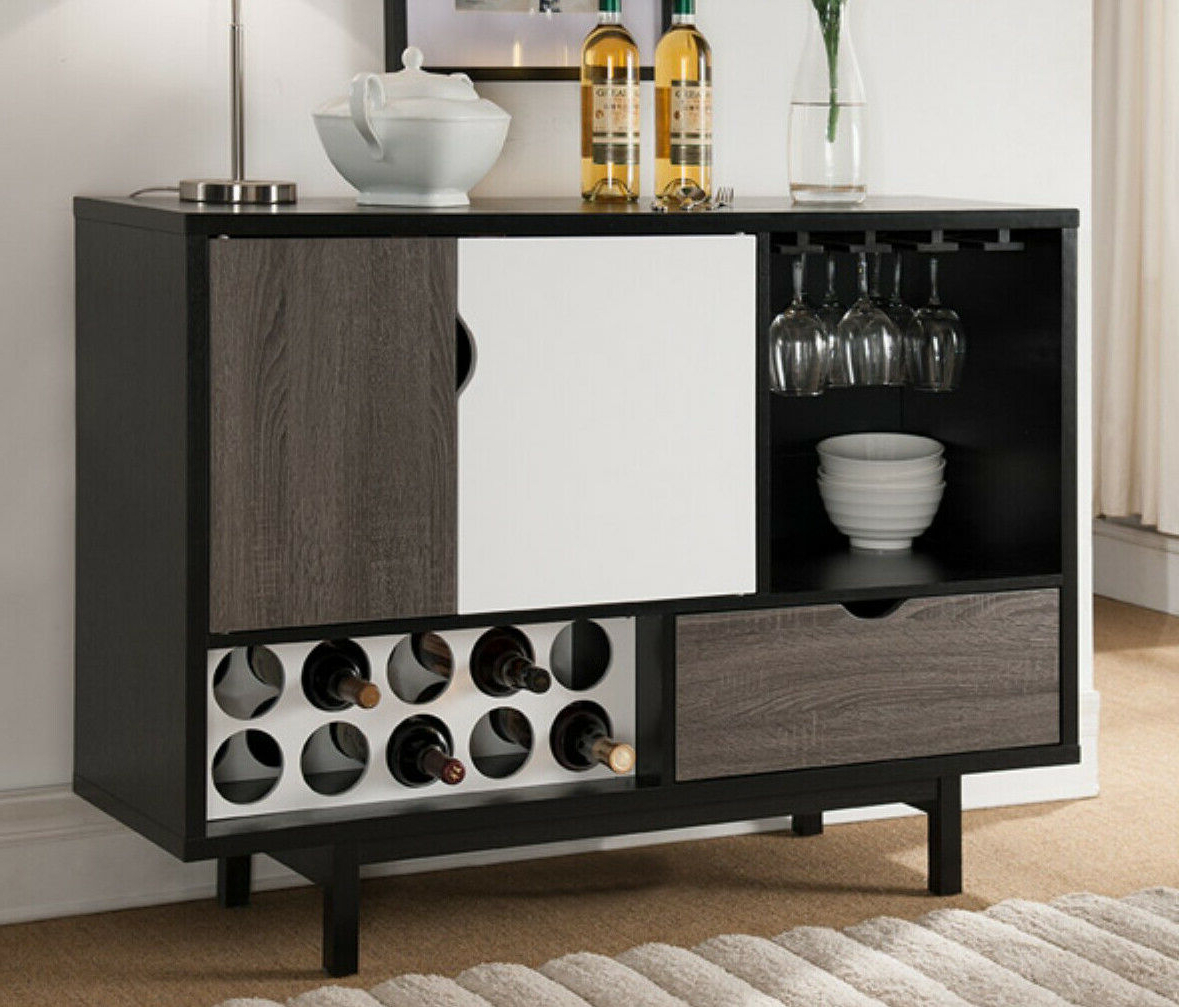 Contemporary Wine Cabinet Liquor Bar Storage Cubby Buffet Black White Modern With Regard To Modern Black Storage Buffets (View 11 of 20)