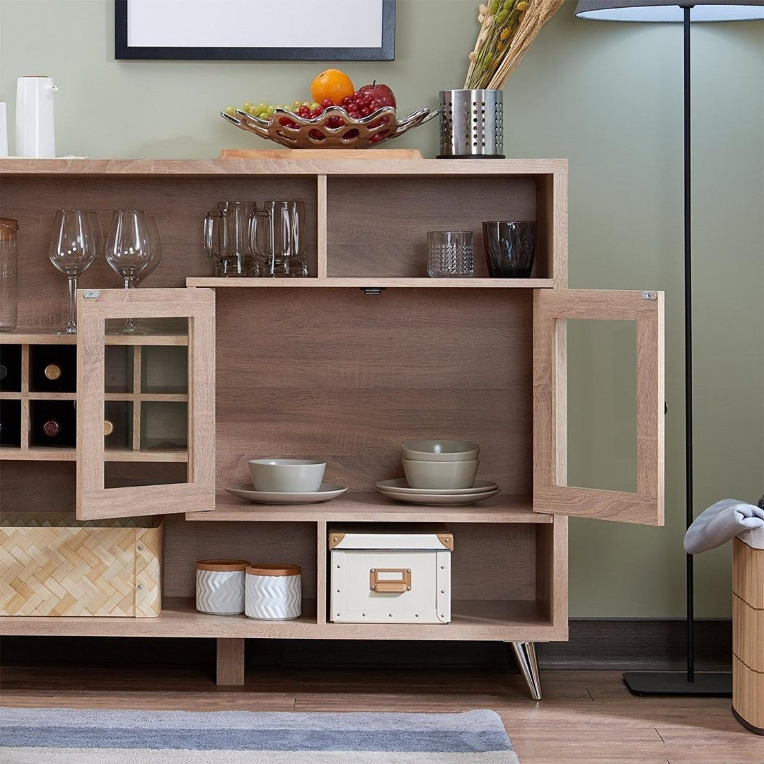 Contemporary Wooden Server With Four Open Compartments And Metal Tapered  Legs, Brown For Contemporary Wooden Buffets With Four Open Compartments And Metal Tapered Legs (View 6 of 20)