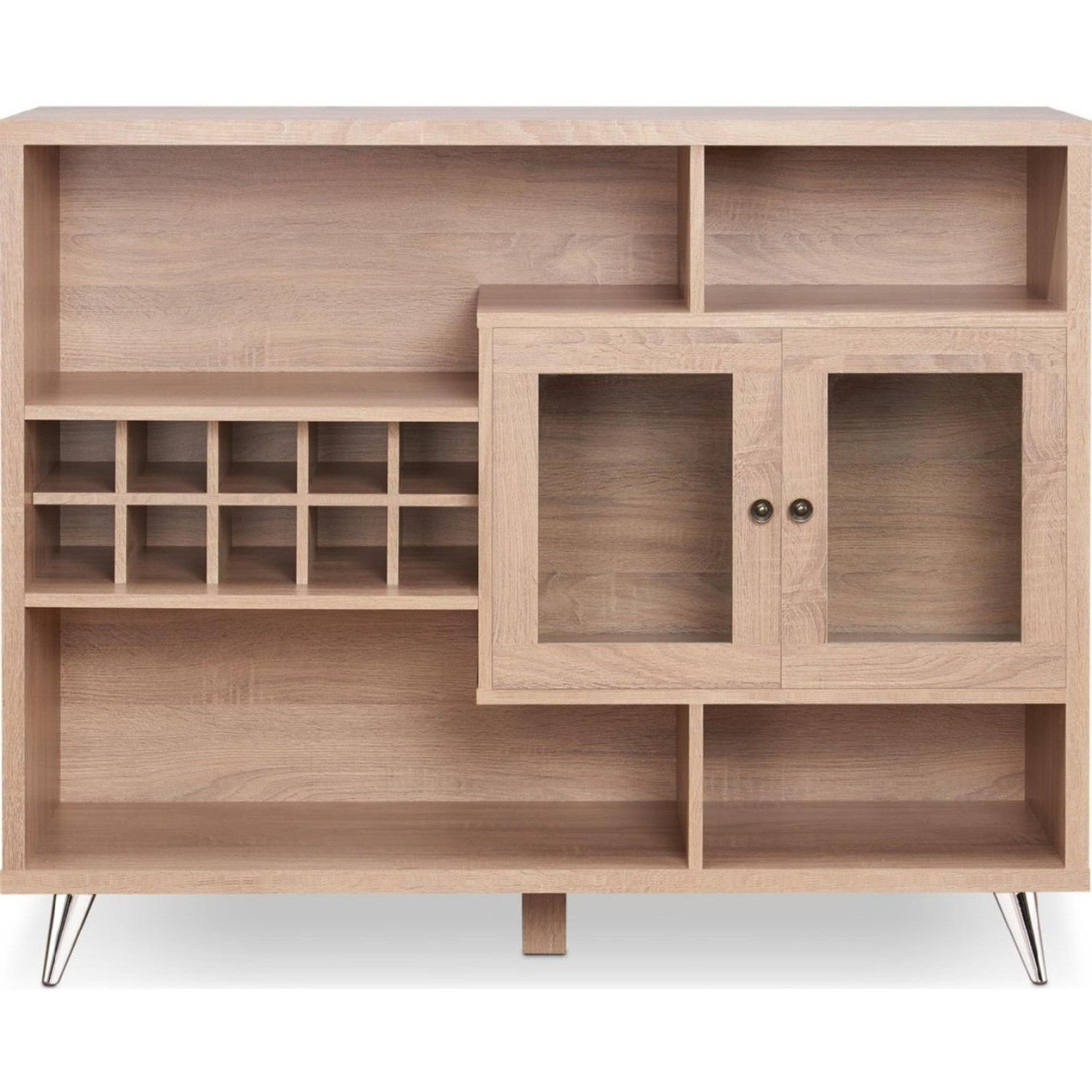Featured Photo of Contemporary Wooden Buffets With Four Open Compartments And Metal Tapered Legs