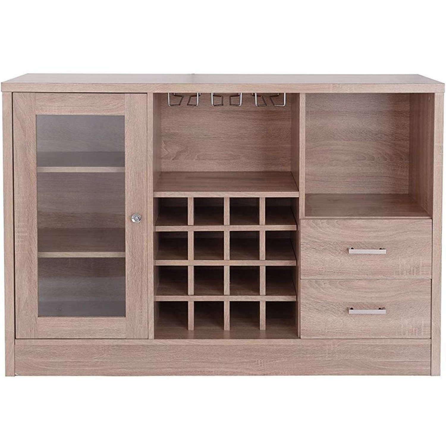 Contemporary Wooden Server With One Side Door Storage Cabinets And Two  Drawers, Brown With Contemporary Wooden Buffets With Four Open Compartments And Metal Tapered Legs (View 8 of 20)