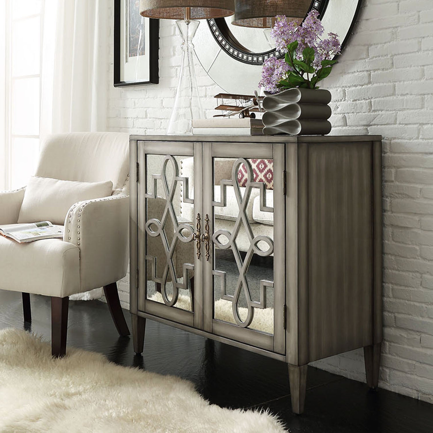 Cortona Scroll Antique Mirrored Double Door Side Chest Cabinetinspire Q  Classic In Mirrored Double Door Buffets (View 4 of 20)