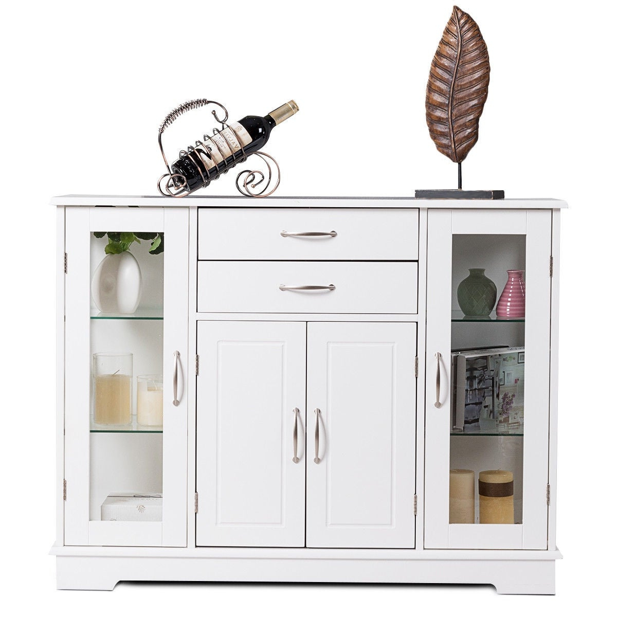 Costway Buffet Storage Cabinet Console Cupboard W/glass Door Drawers  Kitchen Dining Room Inside Contemporary Style Wooden Buffets With Two Side Door Storage Cabinets (View 1 of 20)