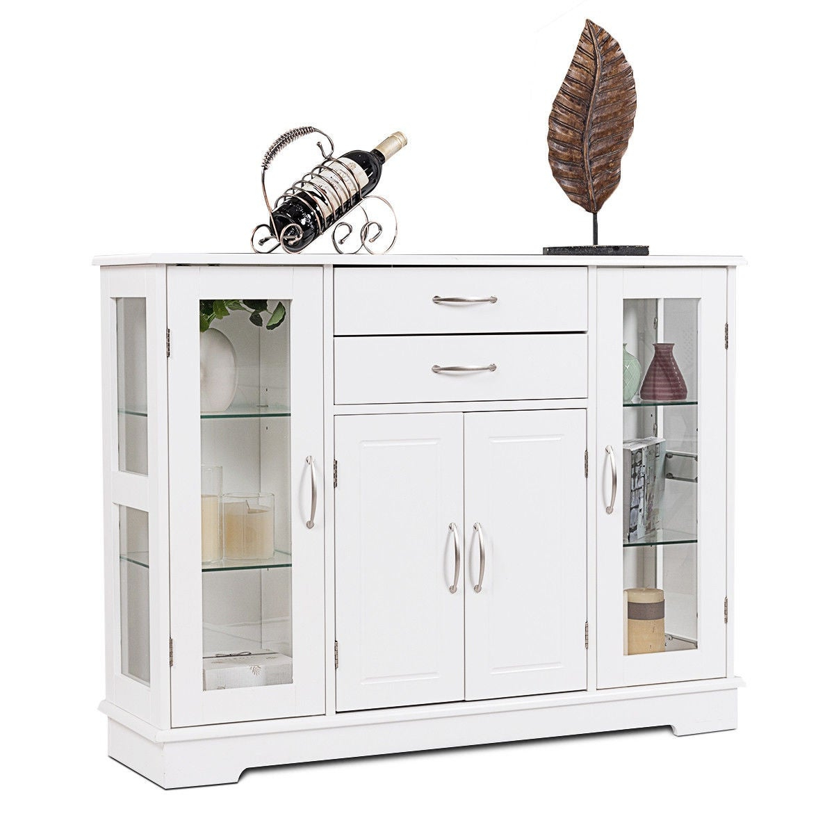 Costway Buffet Storage Cabinet Console Cupboard W/glass Door Drawers  Kitchen Dining Room Intended For Contemporary Wooden Buffets With One Side Door Storage Cabinets And Two Drawers (View 2 of 20)