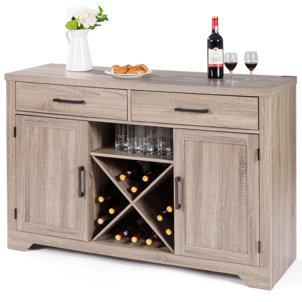 Costway: Costway Buffet Cabinet Sideboard Console Storage Cabinet With Two  Drawers Two Cabinets | Rakuten Regarding 3 Drawer Titanium Buffets (View 4 of 20)
