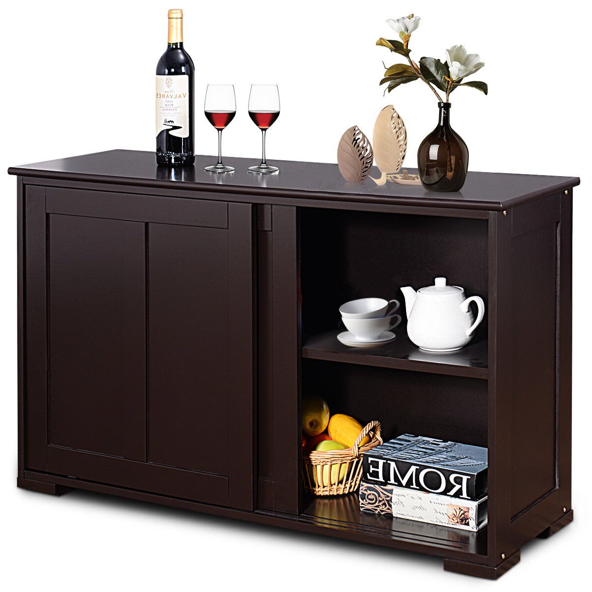 Costway: Costway Kitchen Storage Cabinet Sideboard Buffet Cupboard Wood  Sliding Door Pantry | Rakuten With 3 Drawer Black Storage Buffets (View 11 of 20)