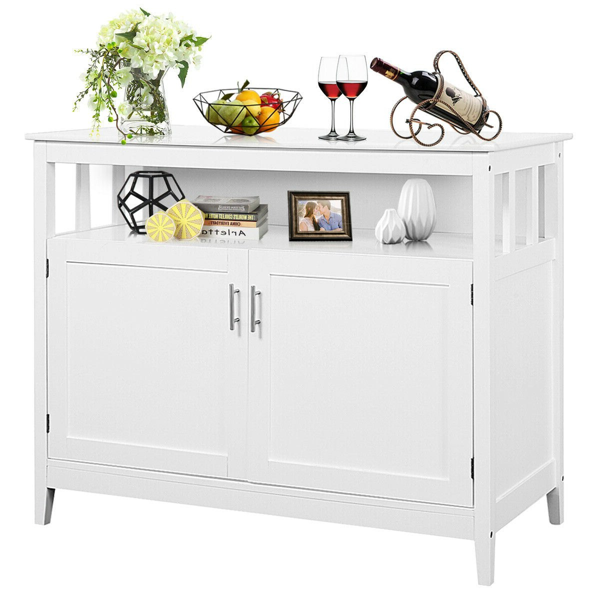 Costway: Costway Modern Kitchen Storage Cabinet Buffet Server Table  Sideboard Dining Wood White | Rakuten With Regard To Modern Espresso Storage Buffets (View 3 of 20)