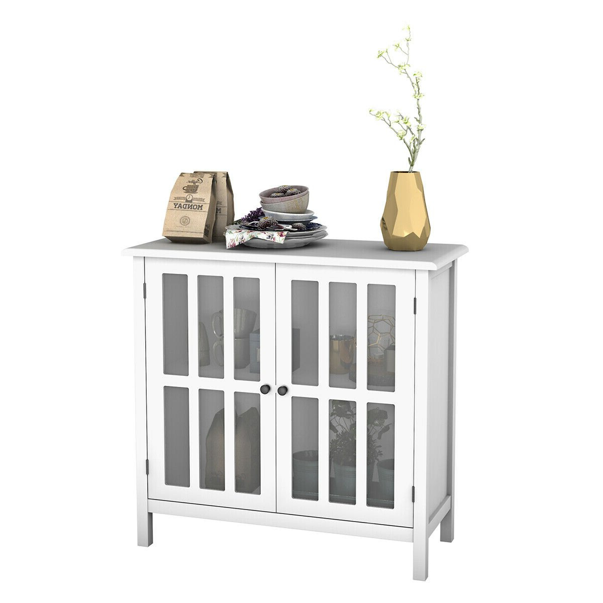 Costway: Costway Storage Buffet Cabinet Glass Door Sideboard Console Table Server Display White   Rakuten Throughout 3 Drawer Titanium Buffets (View 17 of 20)