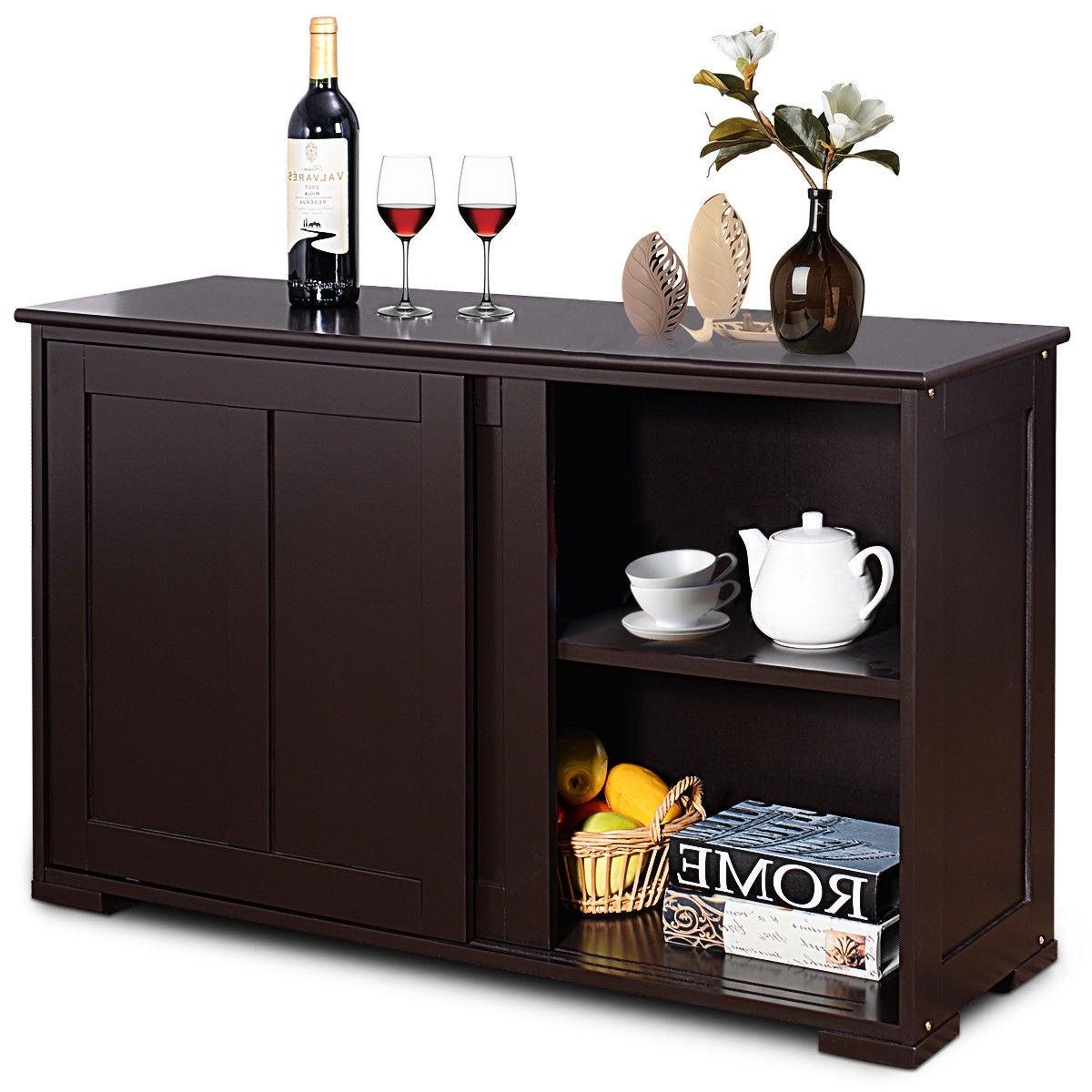 Costway Kitchen Storage Cabinet Sideboard Buffet Cupboard Wood Sliding Door  Pantry For Espresso Sliding Door Stackable Buffets (View 5 of 20)