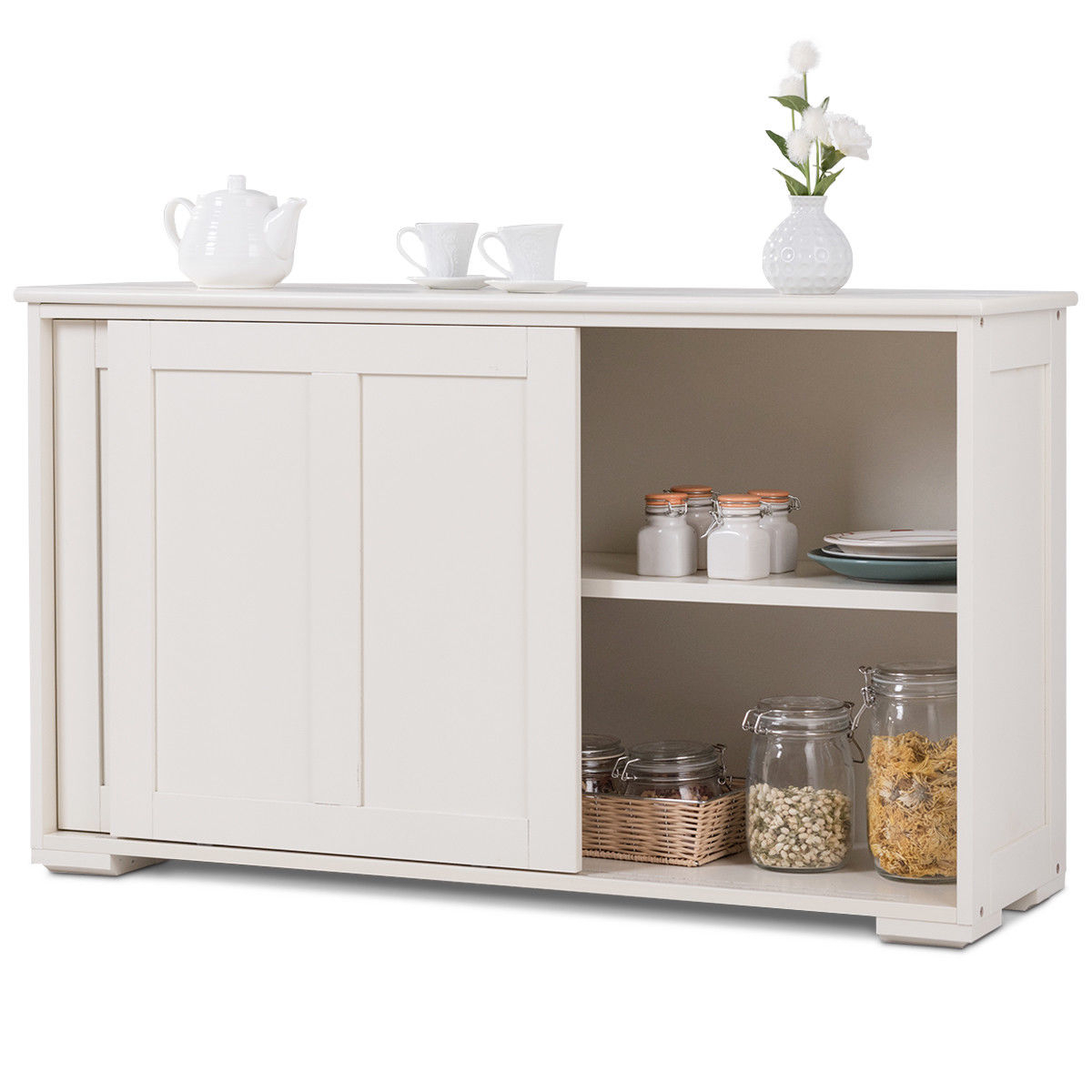 Costway Kitchen Storage Cabinet Sideboard Buffet Cupboard Wood Sliding Door  Pantry – Walmart With Regard To Contemporary Style Wooden Buffets With Two Side Door Storage Cabinets (View 2 of 20)
