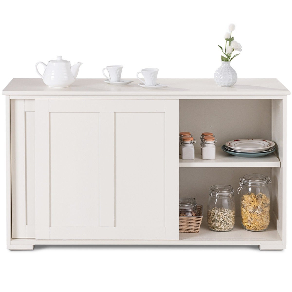 Costway Kitchen Storage Cabinet Sideboard Buffet Cupboard Wood Sliding Door  Pantry With Regard To Contemporary Style Wooden Buffets With Two Side Door Storage Cabinets (View 3 of 20)