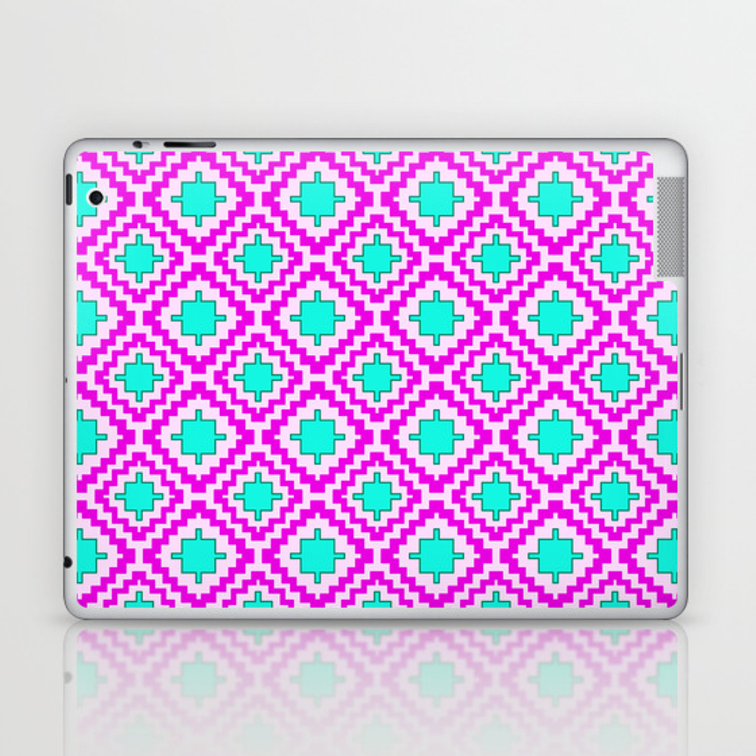 Cowgirl Pink And Turquoise Navajo Native Inspired Oklahoma Arizona Southwestern Design Pattern Laptop & Ipad Skindpartgallery With Regard To Southwest Pink Credenzas (View 14 of 20)
