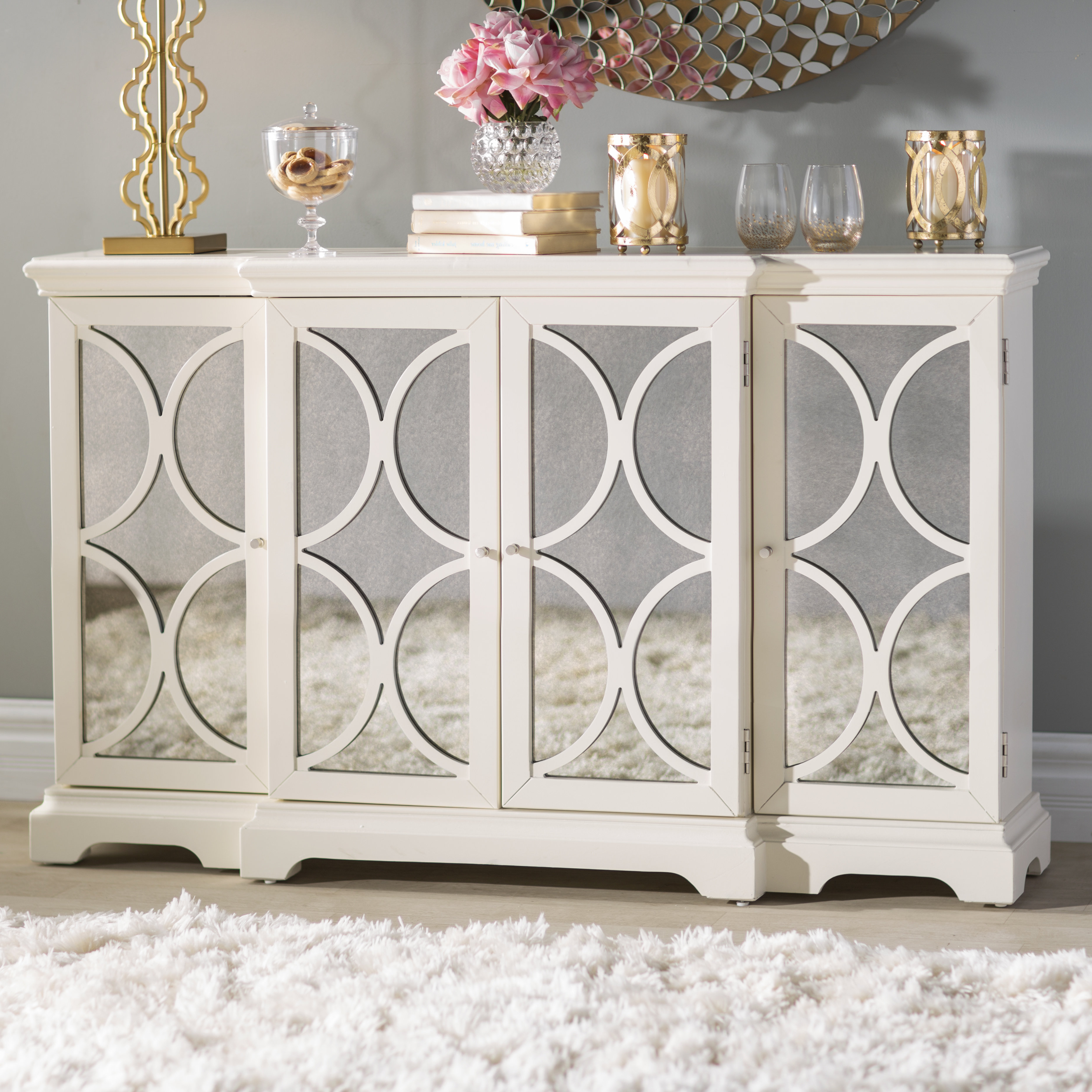 Cream Credenza | Wayfair Intended For Floral Blush Yellow Credenzas (View 9 of 20)