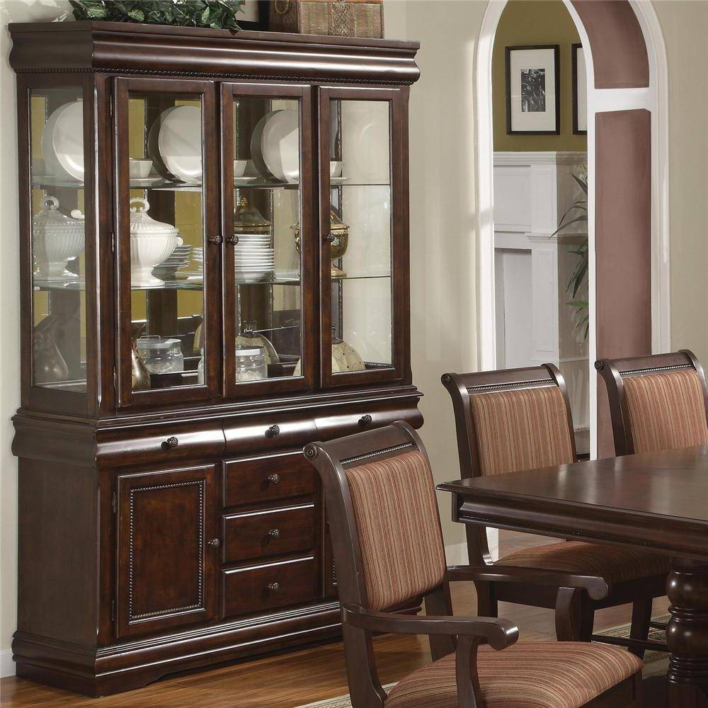 Crown Mark 2145 Merlot Traditional Cherry Finish Buffet And Hutch 2Pcs For Buffets With Cherry Finish (View 15 of 20)