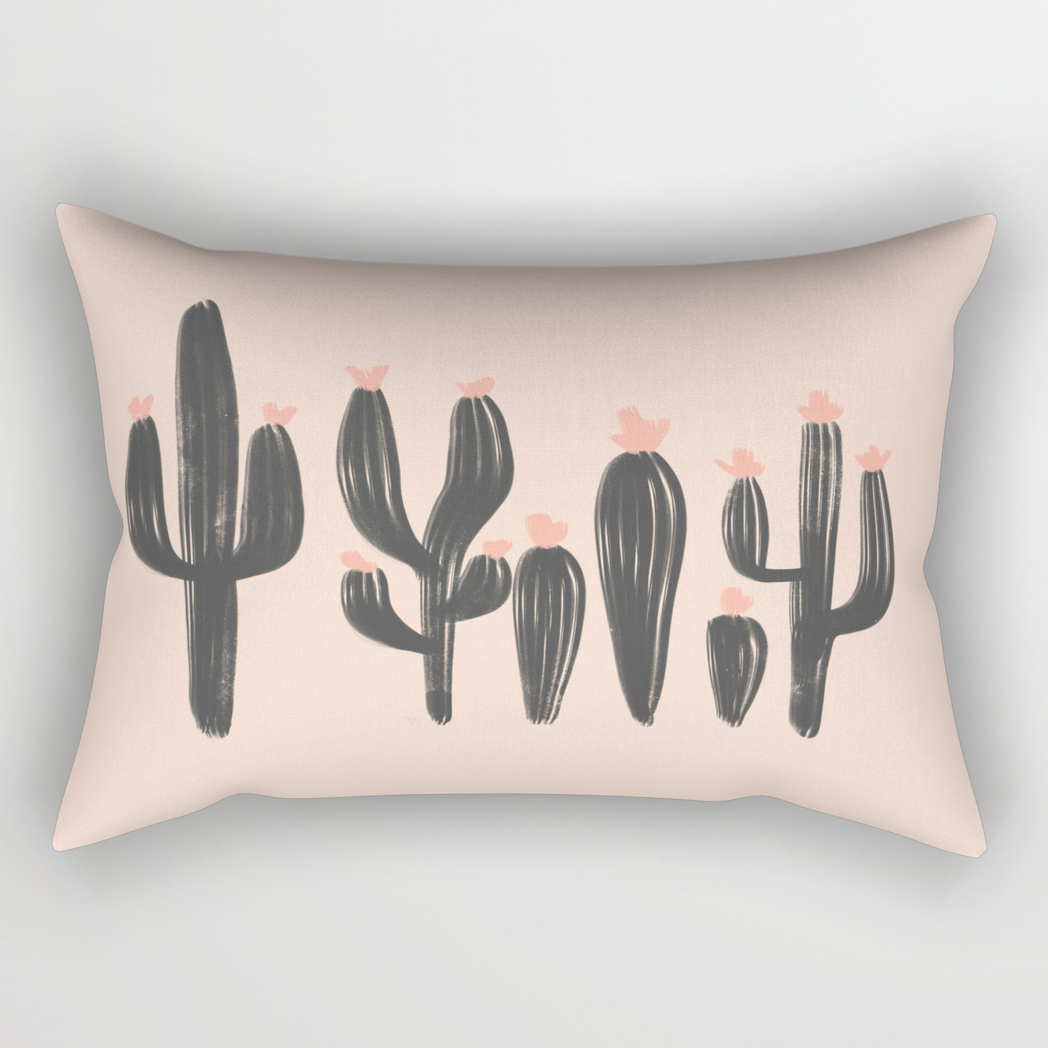 Cute Southwestern Cacti Illustration On Pink Rectangular Pillow With Southwest Pink Credenzas (View 17 of 20)