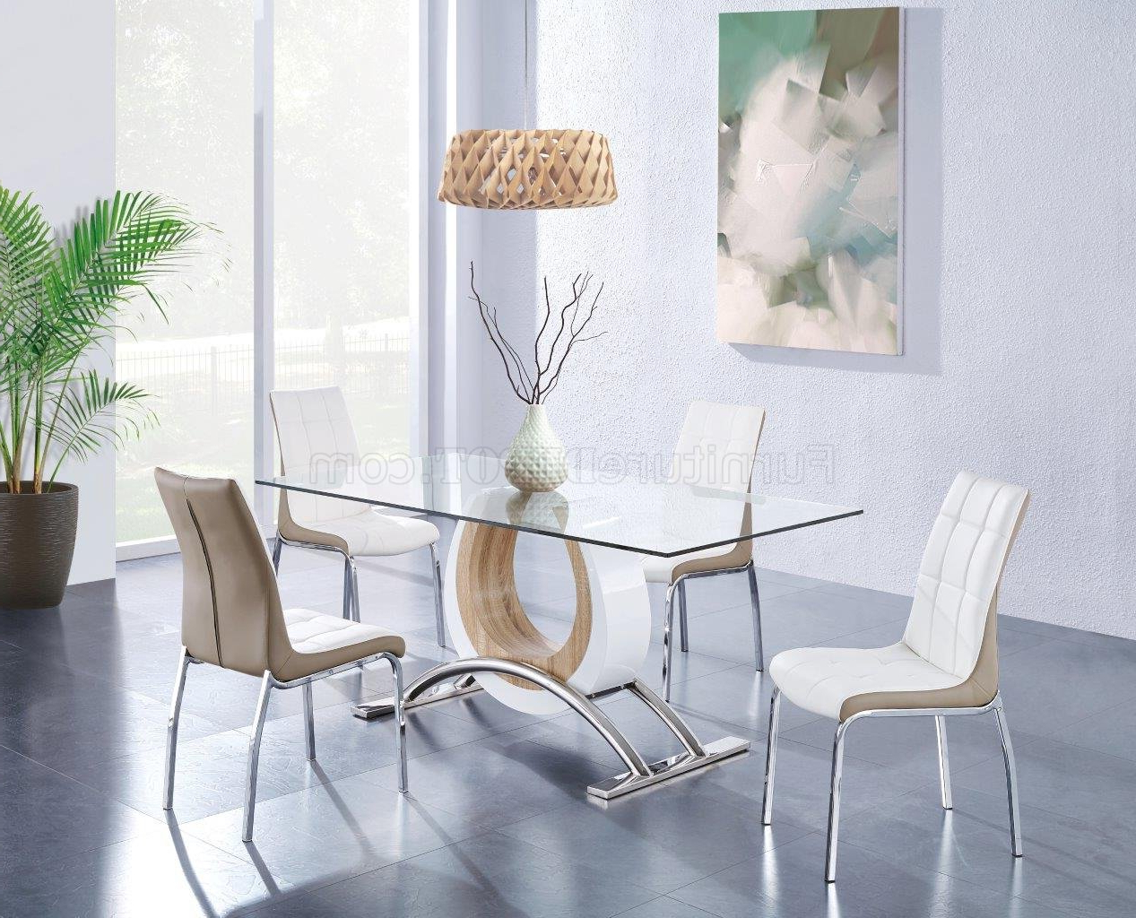 D4202Dt Dining Table White & Light Oakglobal W/glass Top Intended For Togal Contemporary White/light Oak Dining Buffets (View 1 of 20)