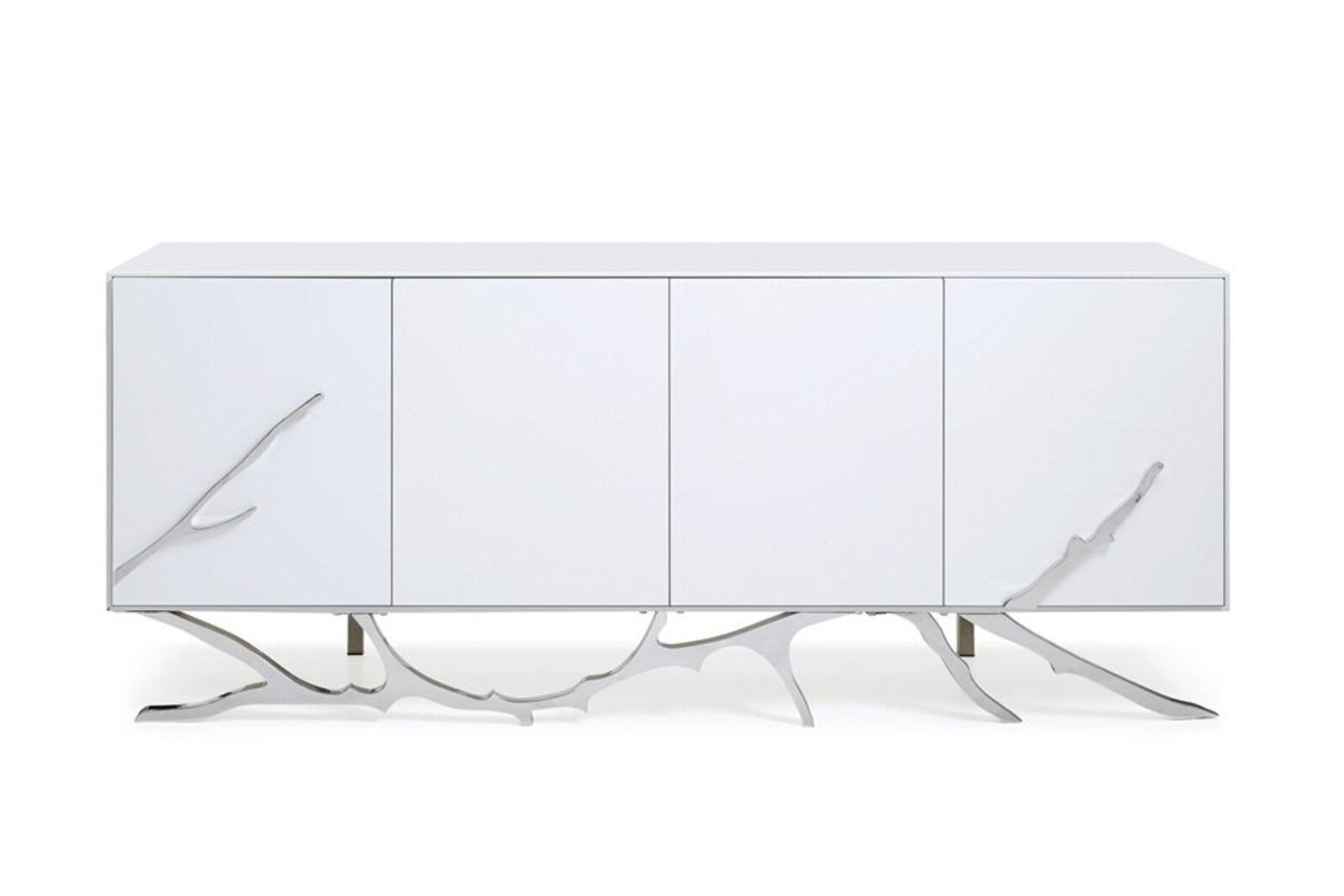 Dalessio Buffet Intended For White Wood And Chrome Metal High Gloss Buffets (View 5 of 20)